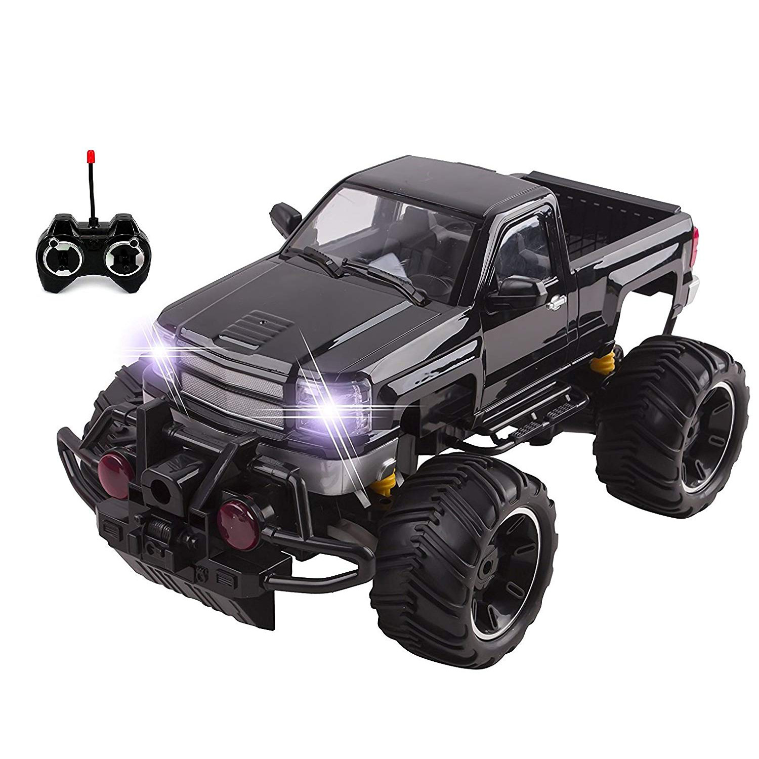RC Truck Big Wheel Beast Monster Truck Remote Control Doors Opening Car Light Up LED Headlights Ready to Run INCLUDES RECHARGEABLE BATTERY 1:14 Size Off-Road Pick Up Buggy Toy (Black)