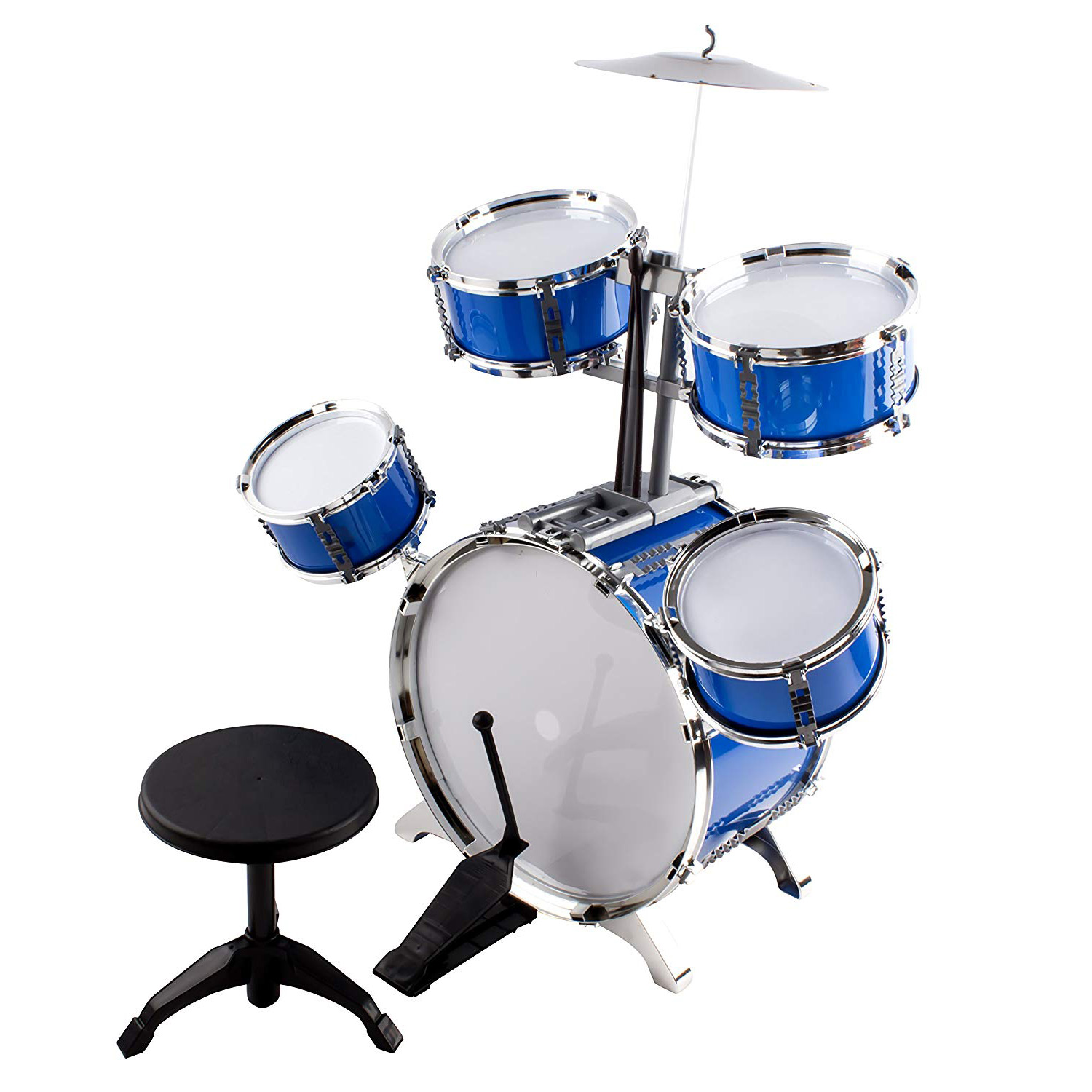 Classic Rhythm Toy Jazz Drum Big XXXL Size Children Kid's Musical Instrument Playset With 5 Drums, Cymbal, Chair, Kick Pedal, And Drumsticks A Perfect Beginner Set For Kids (Blue)