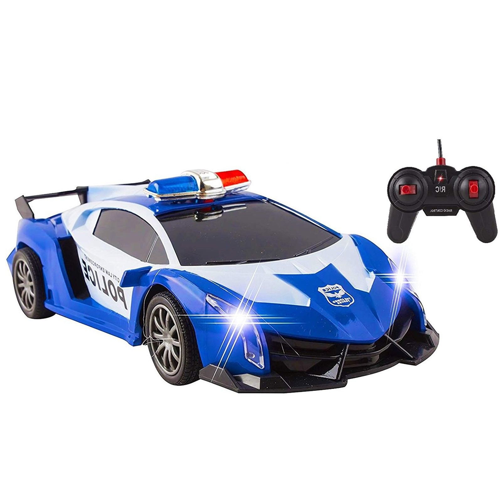 Police RC Car For Kids Super Exotic Large Remote Control Easy To Operate Toy Sports Car with Working Headlights And Sirens Perfect Cop Race Vehicle (Blue)