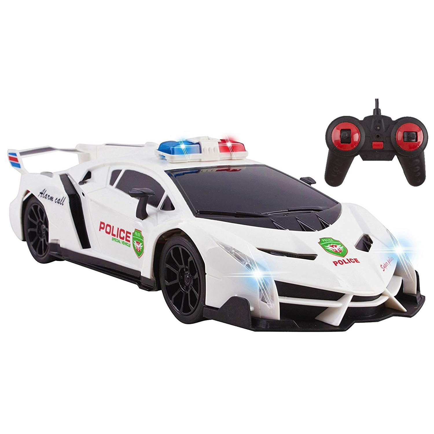 Police RC Car For Kids Super Exotic Large Remote Control Easy To Operate Toy Sports Car with Working Headlights And Sirens Perfect Cop Race Vehicle (White)