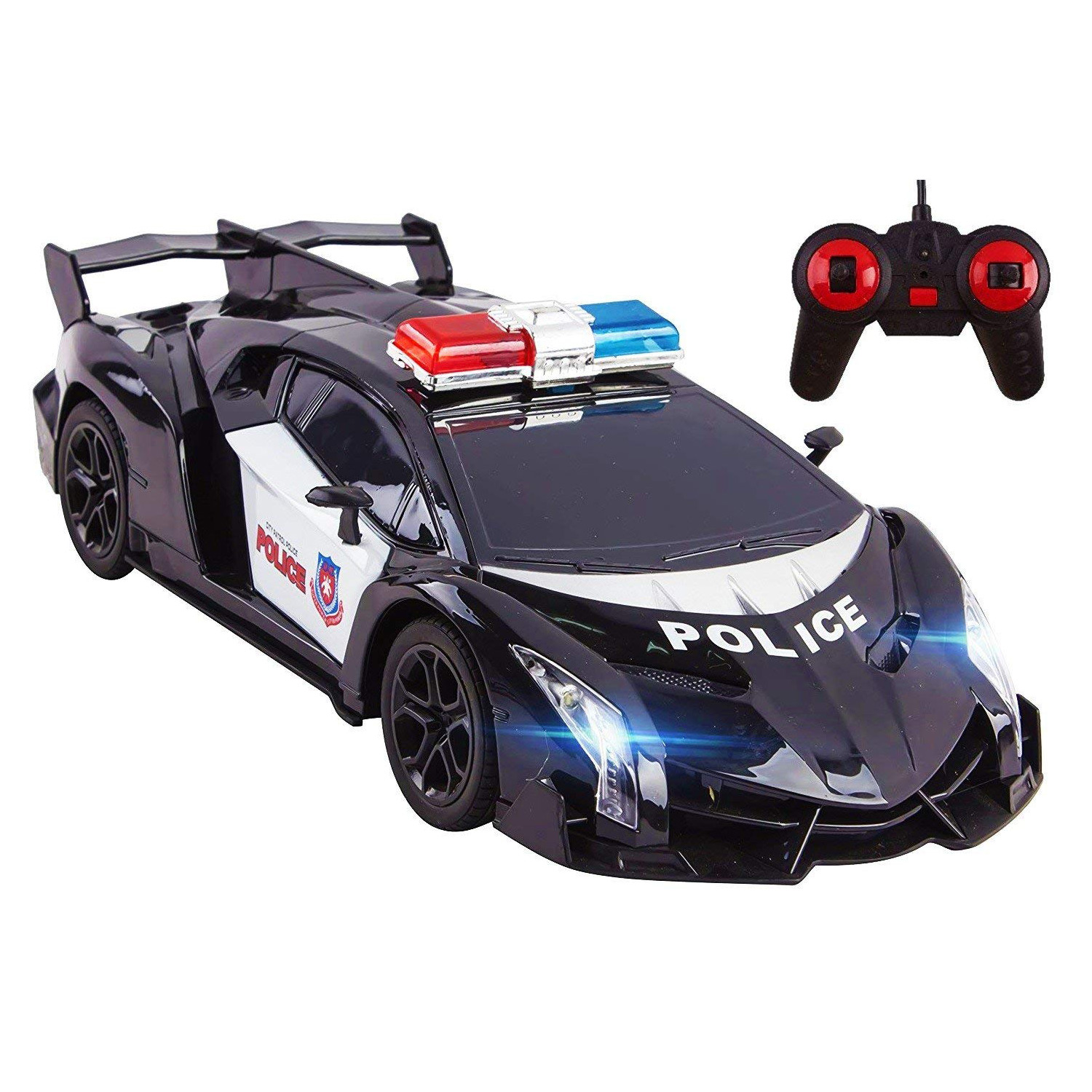 Police RC Car Super Exotic Large 1:16 Scale Size Kids Remote Control Easy To Operate Toy Sports Cars With Functional LED Headlights Perfect Cop Race Vehicle Full Function (Black)