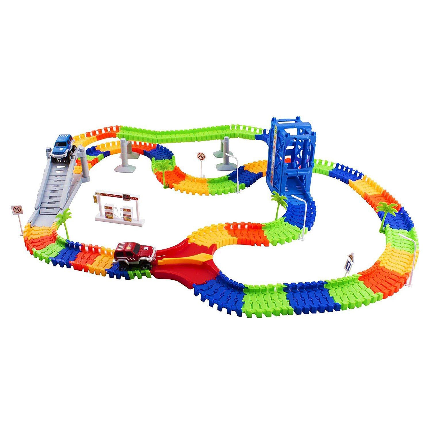 Race Car Track Set Toy Educational Twisted Flexible Building Tracks 240 Pieces Racetrack 2 Cars with Lifter Bridge Trees Gas Station for Children Ages 3 4 5 6 Year old Kids Toys Unisex Boys And Girls