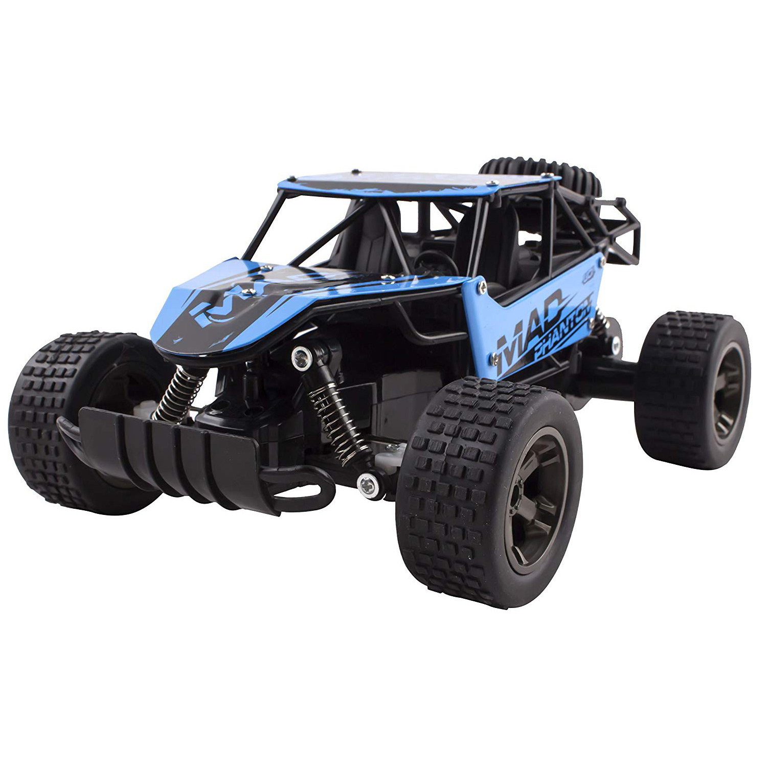RC Truck 2.4 GHz Mad Turbo King Cheetah Diecast Body Remote Control Buggy Car 1:18 Scale RTR With Working Off-Road Suspension High Speed Radio Control Hobby Truggy Rechargeable Battery Included (Blue)