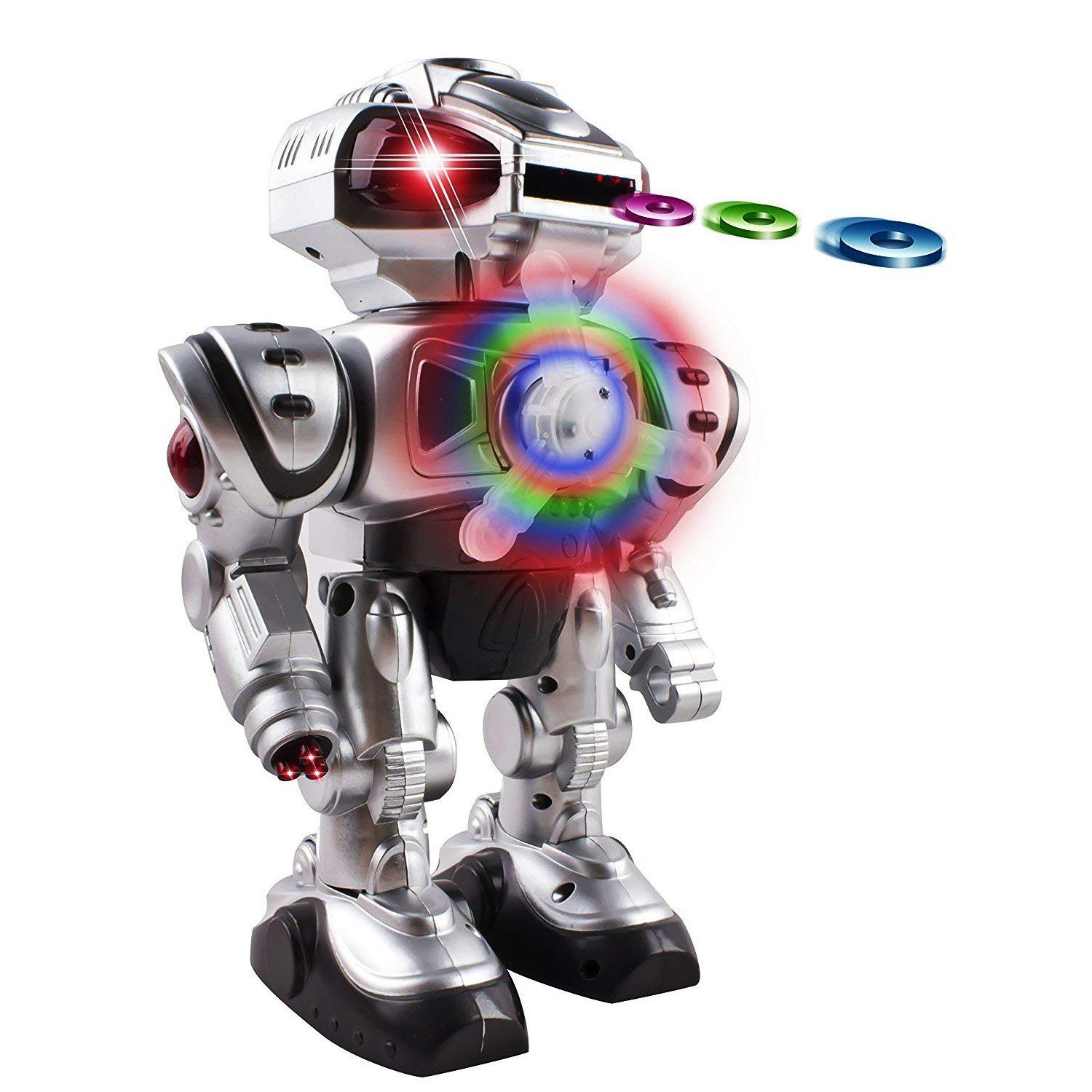 Super Android Toy Robot With Disc Shooting Walking Flashing Lights And Sound Features Great Action Toy For Kids Boys Girls Toddlers Battery Operated Silver