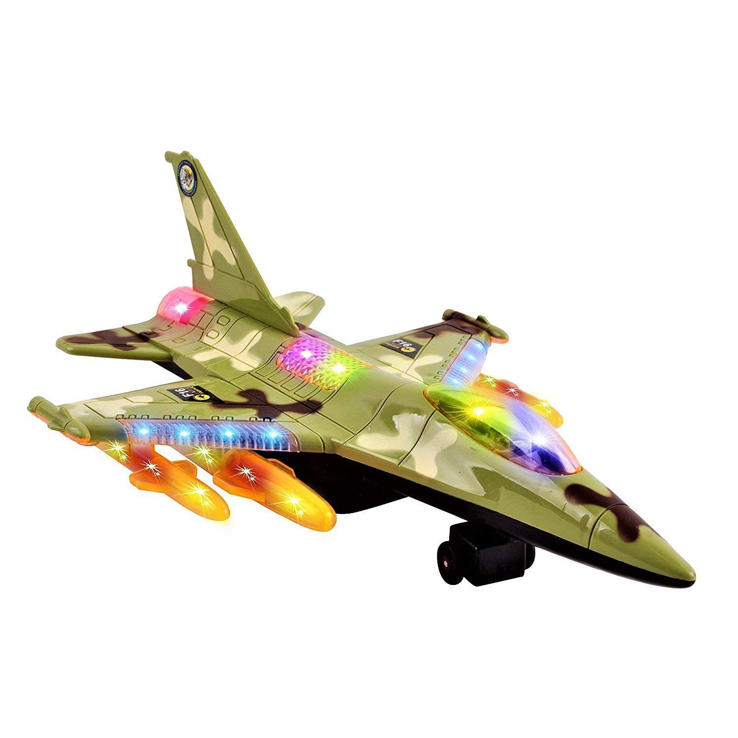 Toy Army Air Force Fighter Jet F16 Battery Operated Kid's Bump and Go Toy Plane With Flashing Lights And Sounds Bumps Into Something and Will Change Direction Perfect For Boys And Girls (Green)