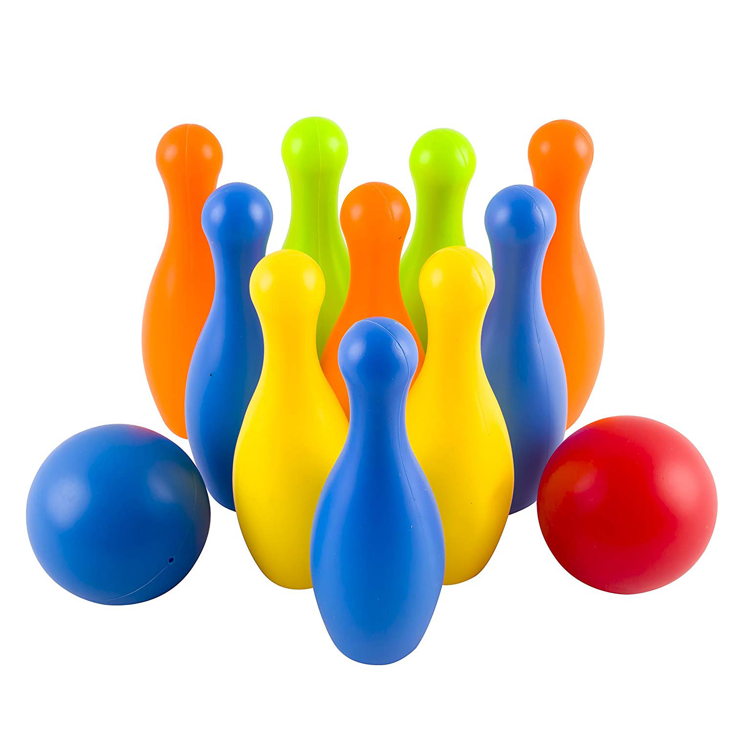 Toy Bowling Play Set Deluxe for Children Colorful 12 Piece 10 Pins 2 Balls Carrying Case Children's Educational Early Development Sport Safe Game for Ages 2 3 4 5 Year Old Toddlers Unisex boy or girl