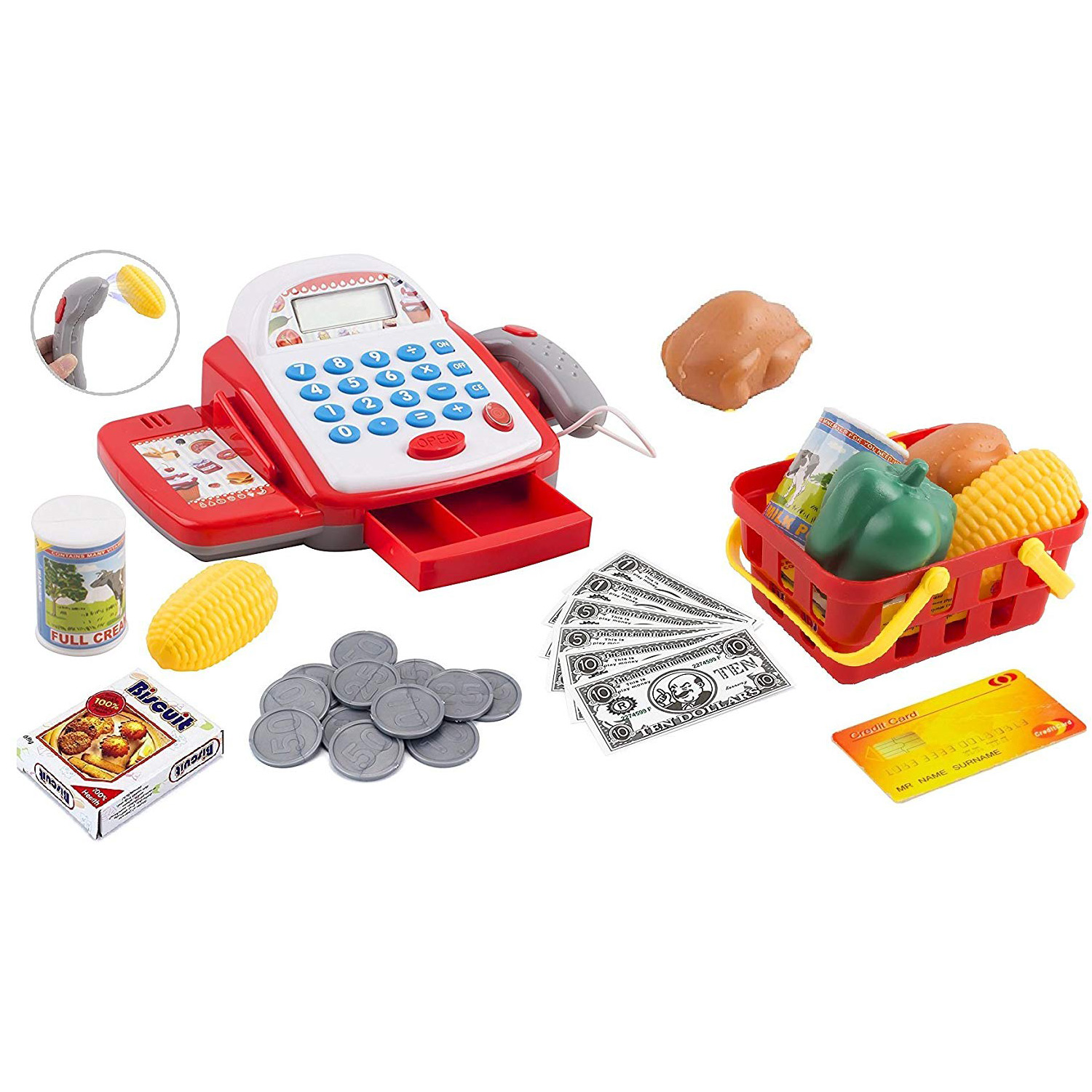 Toy Cash Register Pretend Play Supermarket Cashier Playset Colorful Children's Checkout With Calculator And Sounds Educational Learning Toys For Kids Toddlers And Preschool (white/Red)