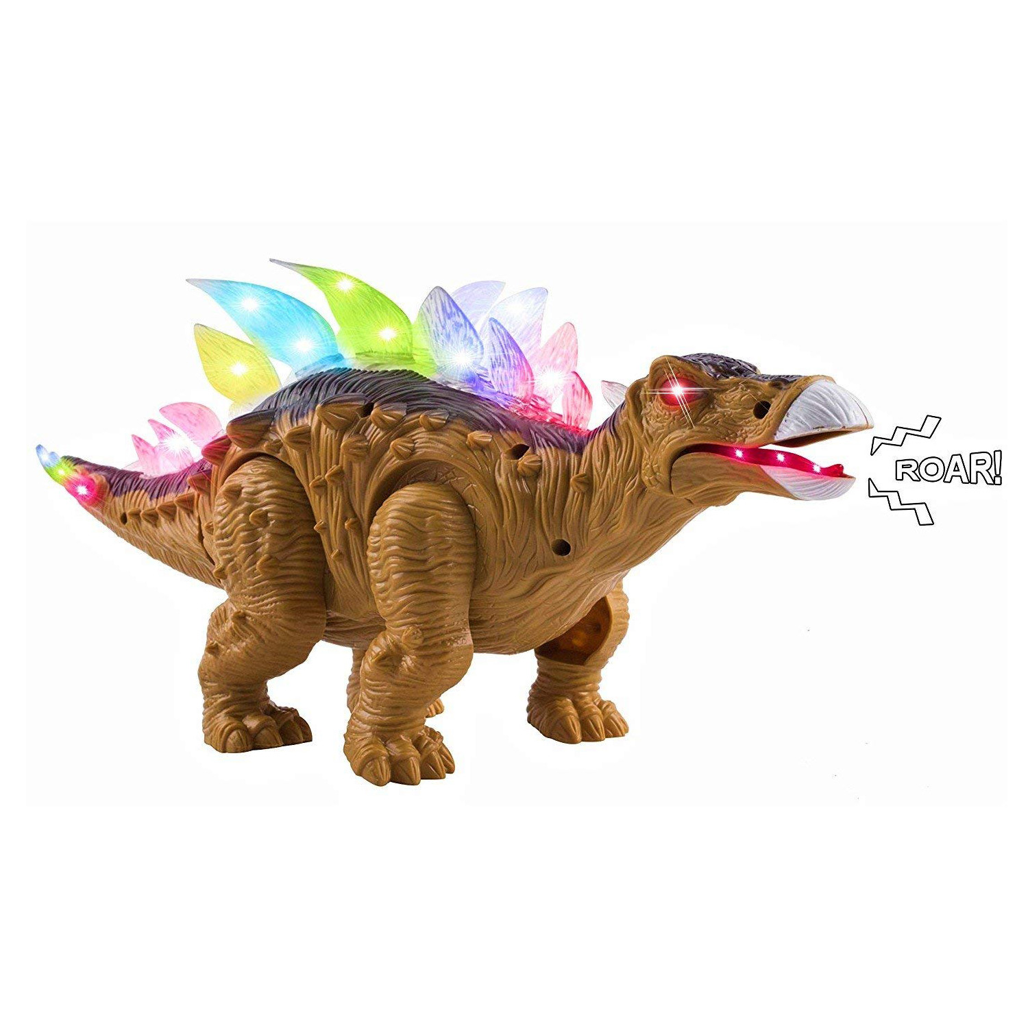 "Toy Dinosaur Stegosaurus Moveable Battery Operated Walking Large 14.5"" Length Figure With LED Lights And Sounds Real Movement Safari Perfect Size And Quality For Kids To Play With (Brown Color)"