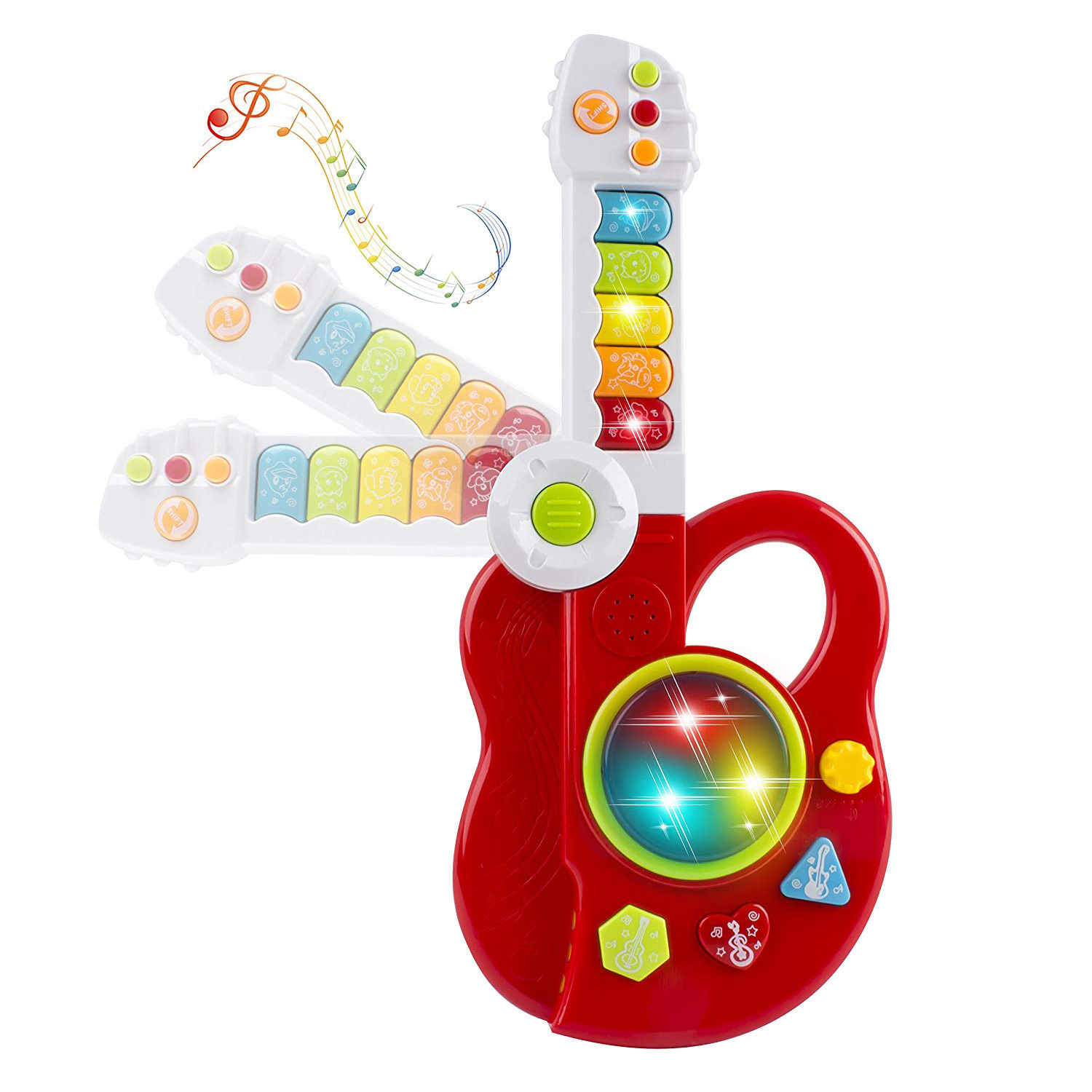 Toy Electric Guitar 3-in-1 With Keyboard And Jazz Drum 3D Lights Up Kids Educational Musical Instrument Playset Vibrant Sound Music And Colors Easy To Use Great For Children's Early Learning (Red)