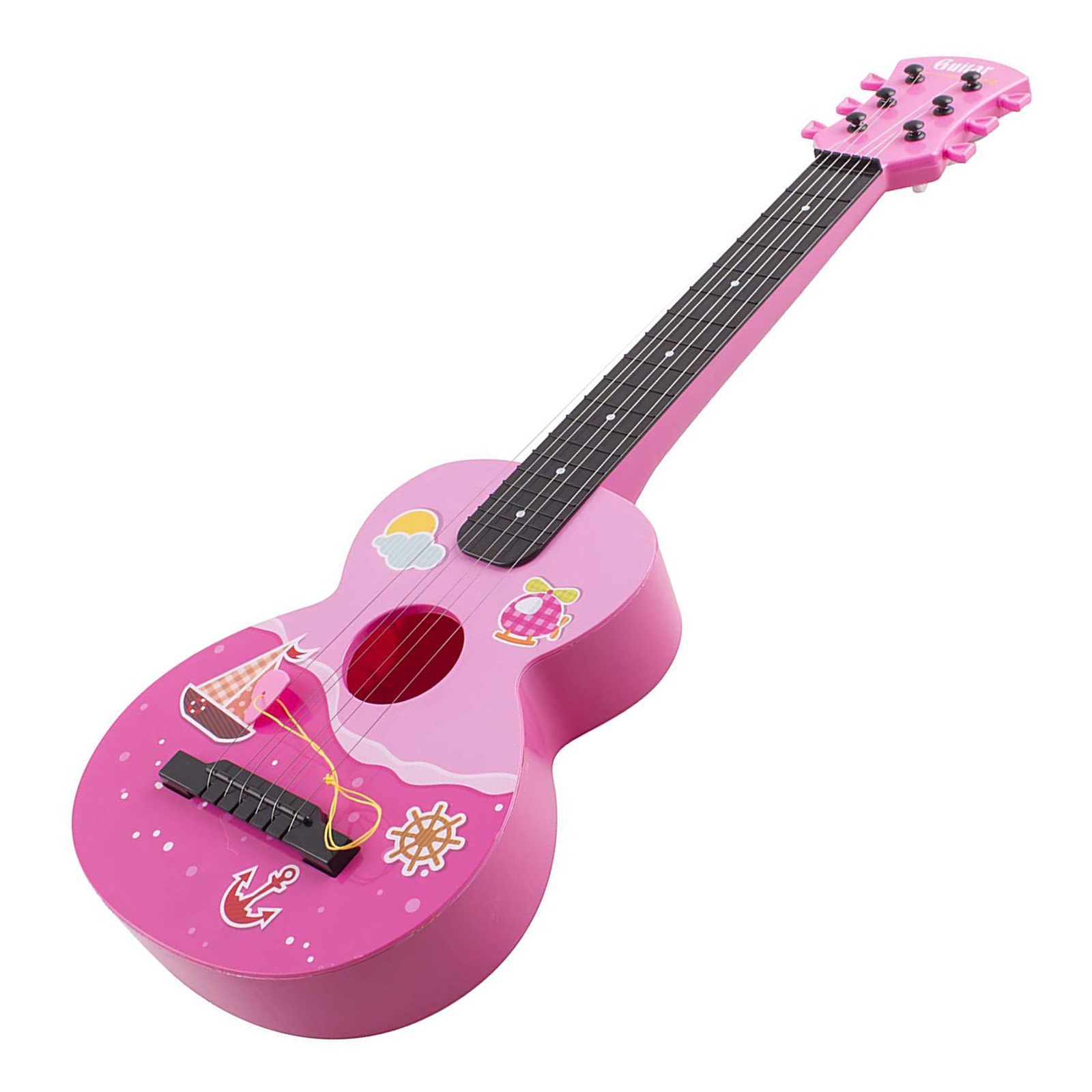 "Toy Guitar Rock Star 6 String Acoustic Kids 25.5"" Ukulele With Guitar Pick Children's Musical Instrument Vibrant Sound Tunable Strings Educational And Perfect For Learning How To Play Pink Color"