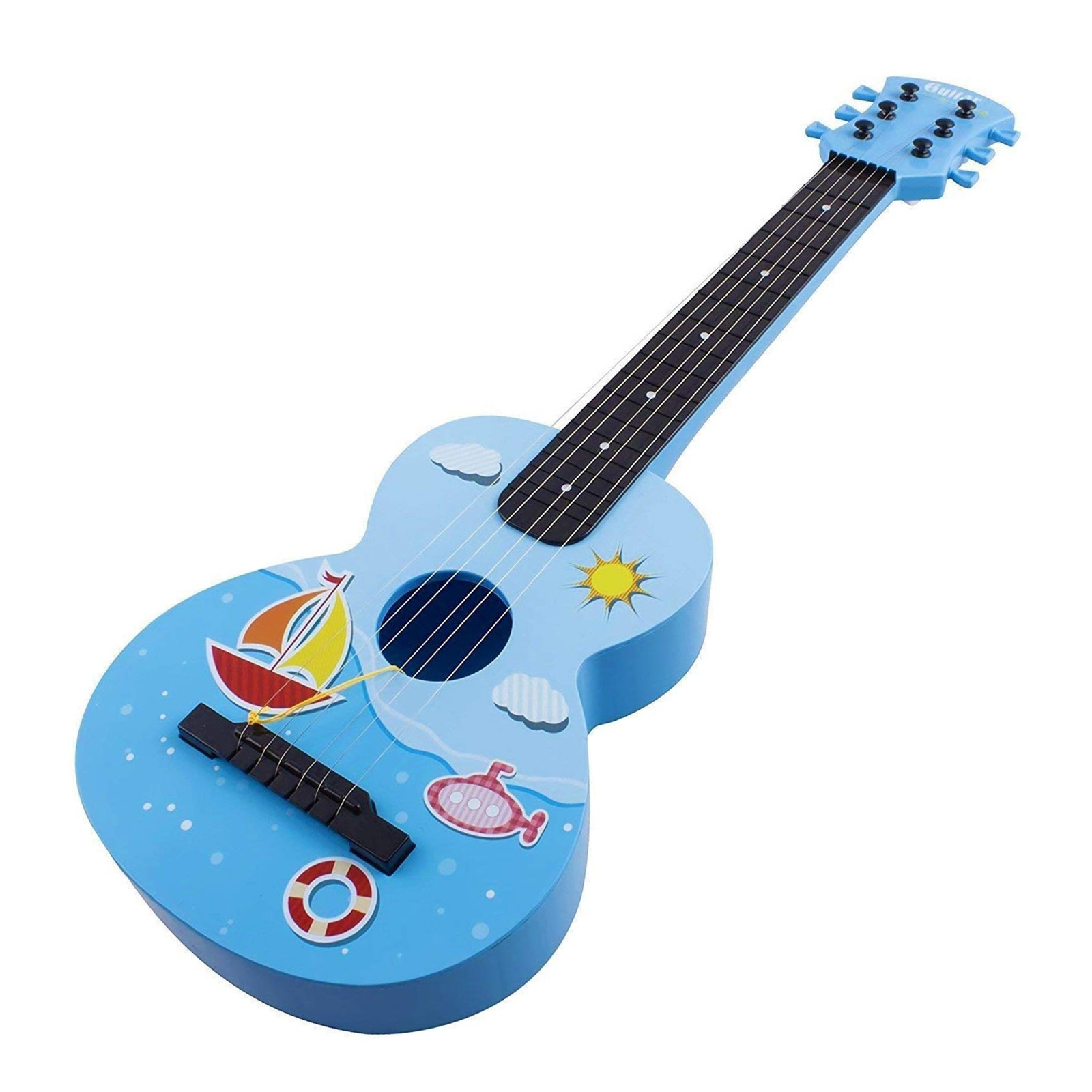 Toy Guitar Rock Star 6 String Acoustic Kids Ukulele With Guitar Pick Children\'s Musical Instrument Vibrant Sound And Colors Tunable Strings Educational And Perfect For Learning How To Play Blue