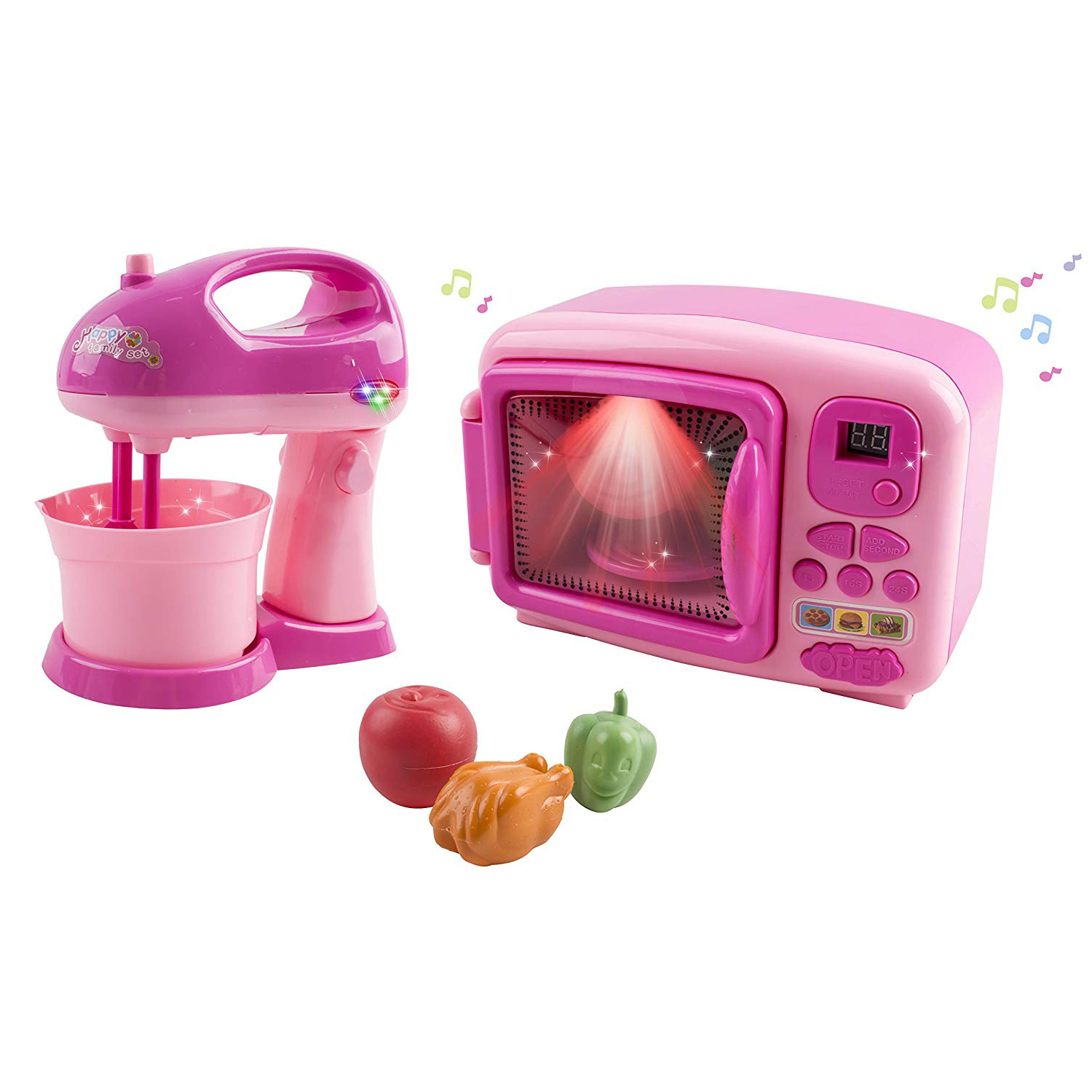 Toy Microwave and Mixing Blender Children\'s Kitchen Pretend Play Playset Battery Operated Appliance Set With Food Pieces Perfect For Early Learning Educational Preschool Girls Cooking Toys Pink