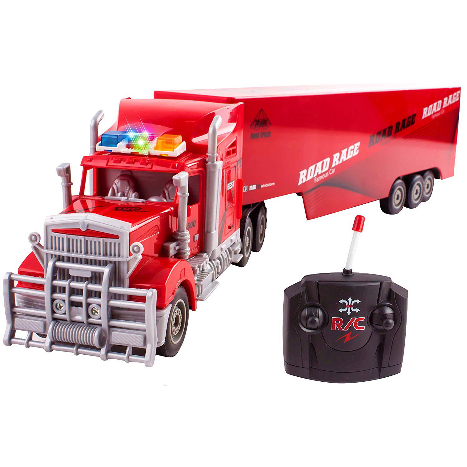 "Toy Semi Truck Trailer 23"" Electric Hauler Remote Control RC Children's Transporter Ready To Run Full Cargo Perfect Big Rig For Kids Toys (Red)"