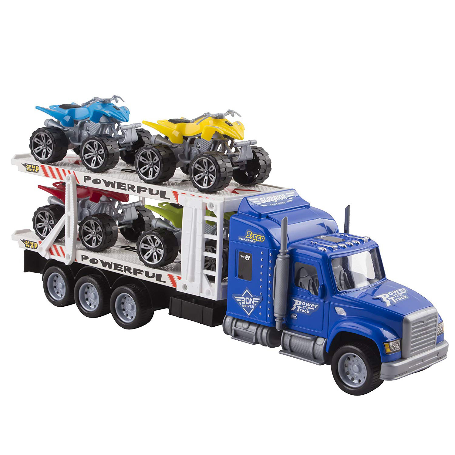 "Toy Truck Transporter Trailer 14.5"" Children's Friction Big Rig With 4 ATV Toys No Batteries Or Assembly Required Perfect Semi Truck For Kids (Blue Truck)"