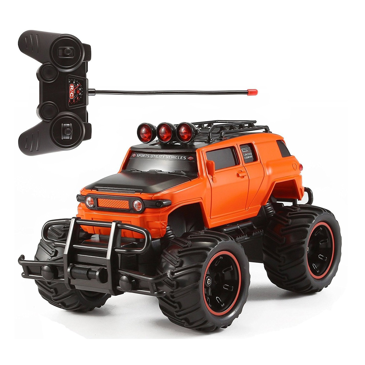 RC Monster Truck Toy Remote Control RTR Electric Vehicle Off Road High Speed Race Car 1:20 Scale Radio Controlled Orange Color