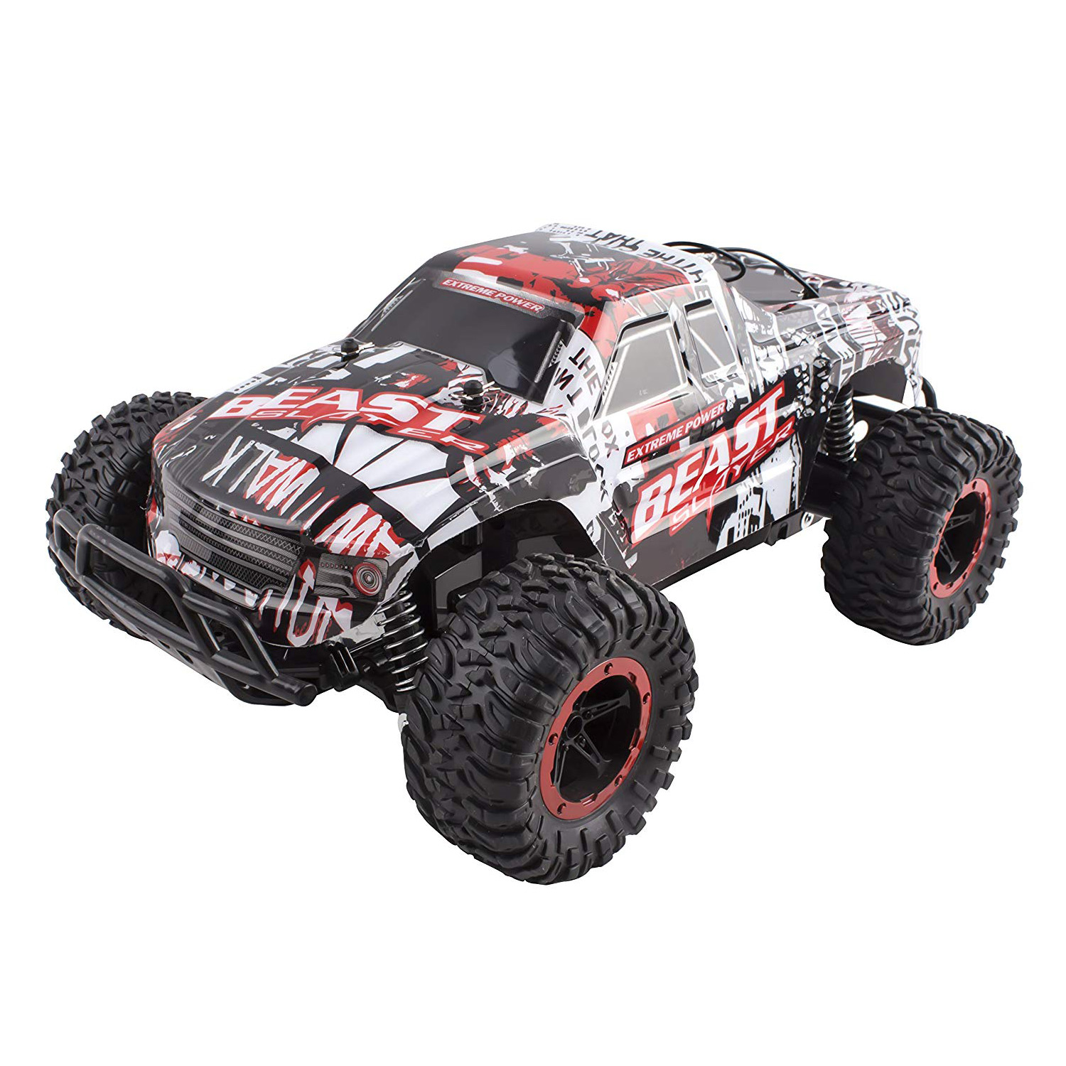 RC Truck Beast Slayer Removable Body Remote Control Turbo RC Buggy Car Large 1:16 Scale Size RTR With Working Suspension, High Speed, Radio Control Off-Road Hobby Truggy Rechargeable (Red)
