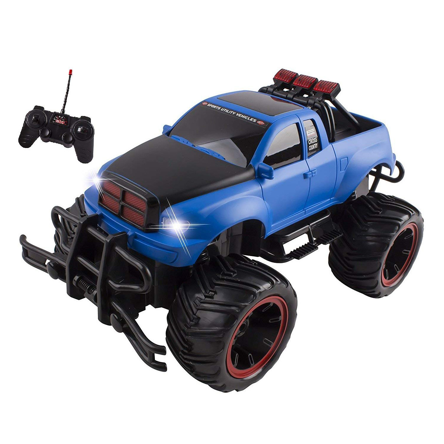 RC Monster Truck Buggy Remote Control Car RTR Electric Truggy Vehicle 1:16 Large Scale Working Suspension Perfect Kids Off-Road Race Toy (Blue)