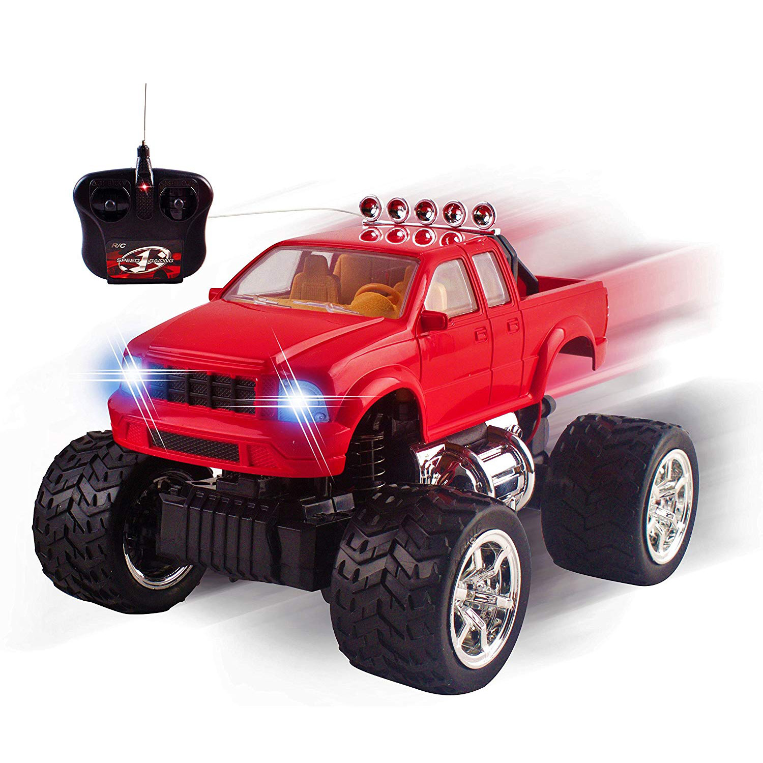 RC Truck Off-Road Series 1:20 Mini Scale Big Wheel Remote Control Car With LED Headlights Ready to Run Fast Nimble Handling Monster Trucks Beast Buggy Toy (Red)
