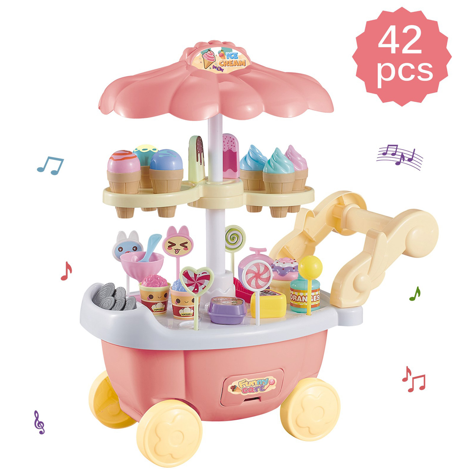 Ice Cream Cart 39 Pieces Dessert Candy Trolley Kitchen Toy Set With Lights Music Includes Umbrella Food Accessories 3 feet tall Children's Pretend Play Truck Playset Appliance Set Pieces Perfect For Early Learning Educational Girls Cooking