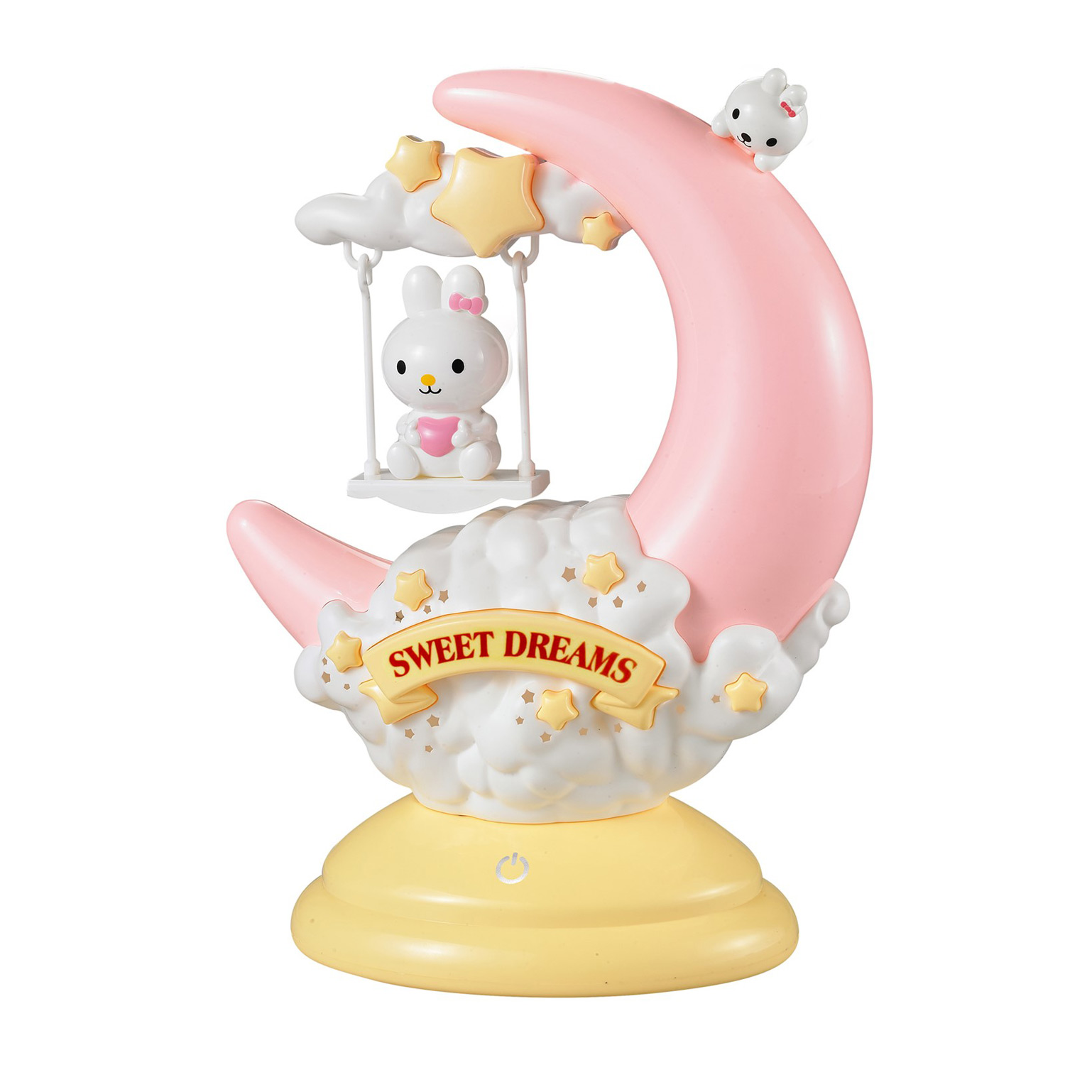 "Kids 11"" Night Light Cute Bunny Rabbit On Movable Half Moon Swing With Touch Sensor LED And Yellow Dim Option Portable Lamp Good Sleep Perfect Nightlight Gift For Girl Boy Infant Toddler Baby"