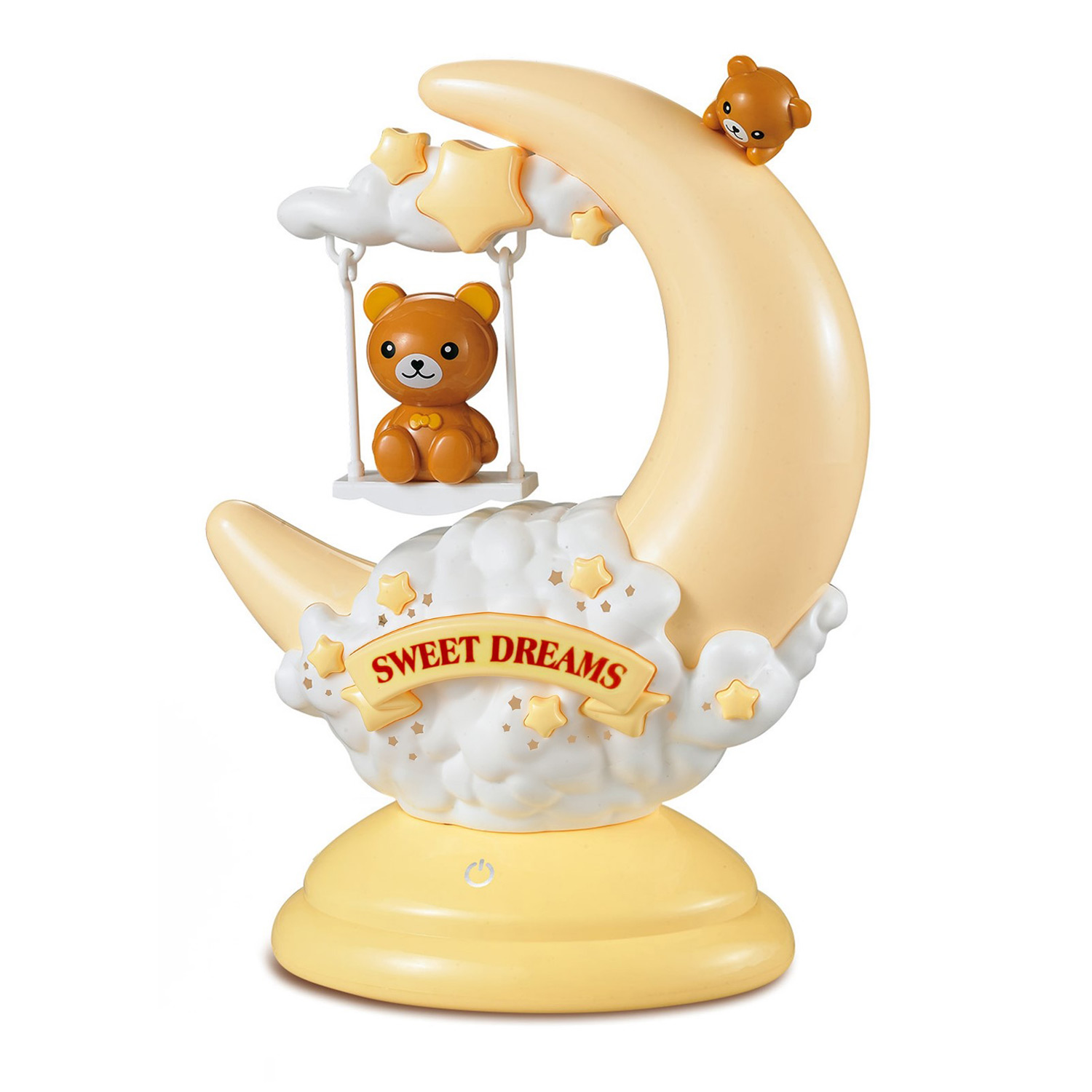 Night Light Cute Teddy Bear Animal On Movable Half Moon Swing With Sweet Dreams Touch Sensor Plus Yellow Dim Option Portable Lamp Perfect For Boy Girl Infant Toddler Baby Nightlight Gifts