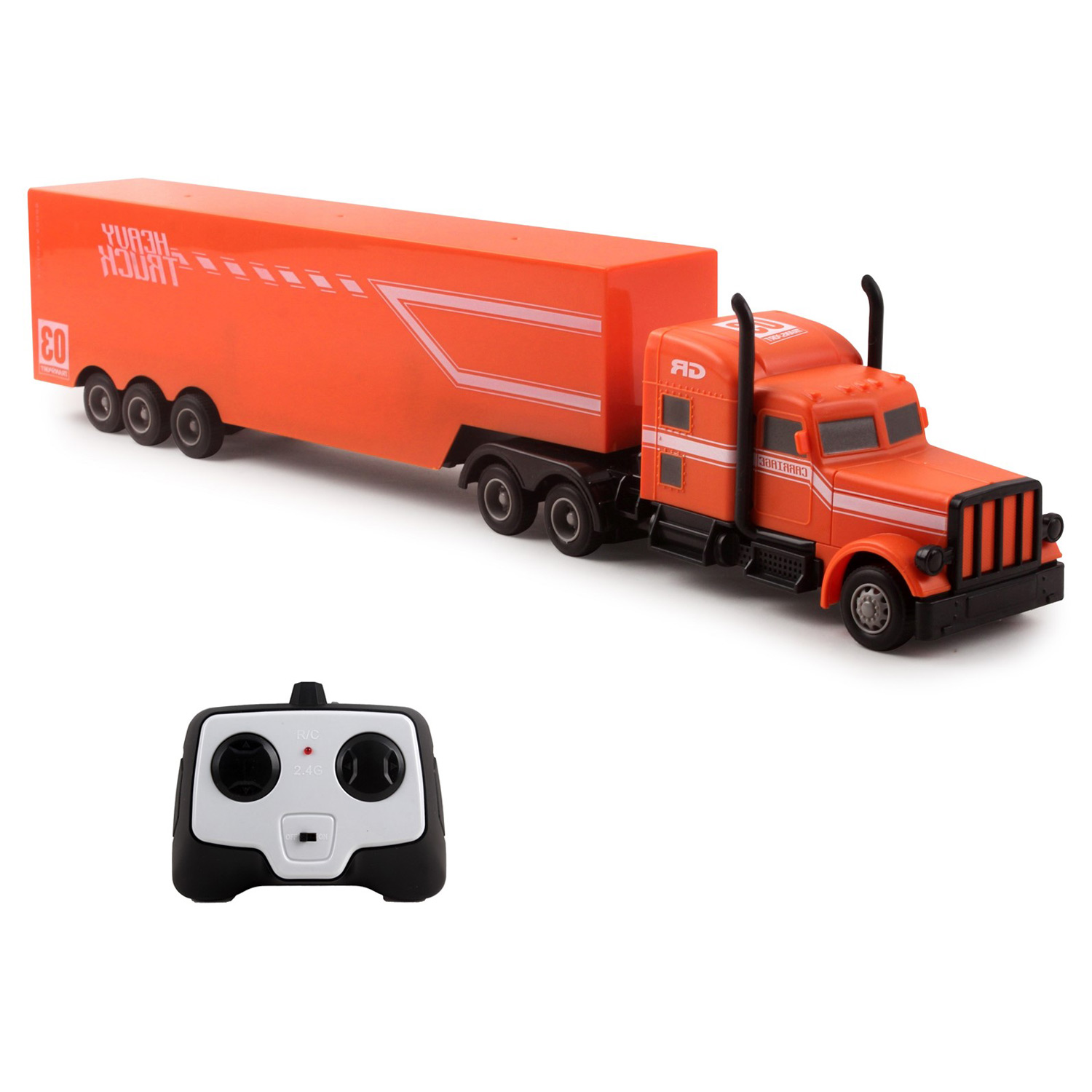"Large RC Semi Truck Trailer 18"" 2.4Ghz Fast Speed 1:16 Scale Electric Hauler Rechargeable Remote Control Kids Big Rig Toy Carrier Van Transporter Vehicle Full Cargo Perfect Gift For Children"