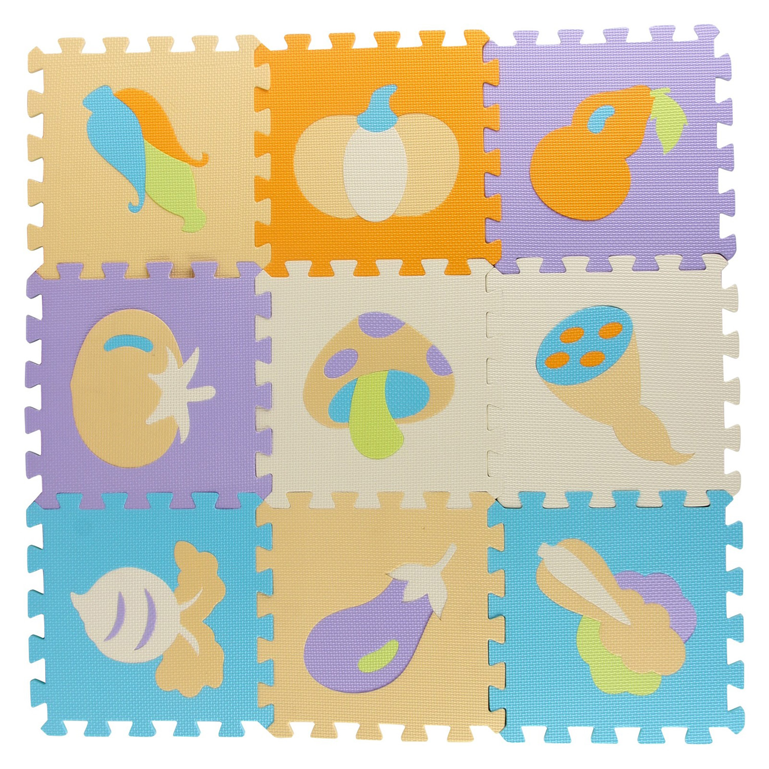 Kids 9 Piece Play Mat Foam Tiles With Different Vegetables And Colors Floor Puzzle Interlocking EVA Playroom Building Construction Toys Creative Imagination Perfect Gift For Boys And Girls