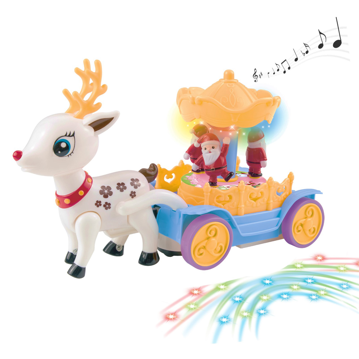 Beautiful Musical Walking Reindeer With Rotating Santa Claus Carousel Music Box Self Riding Deer Animal Lights And Sounds Bump And Go Action Great Toy Gift For Kids Little Boys Girls Children