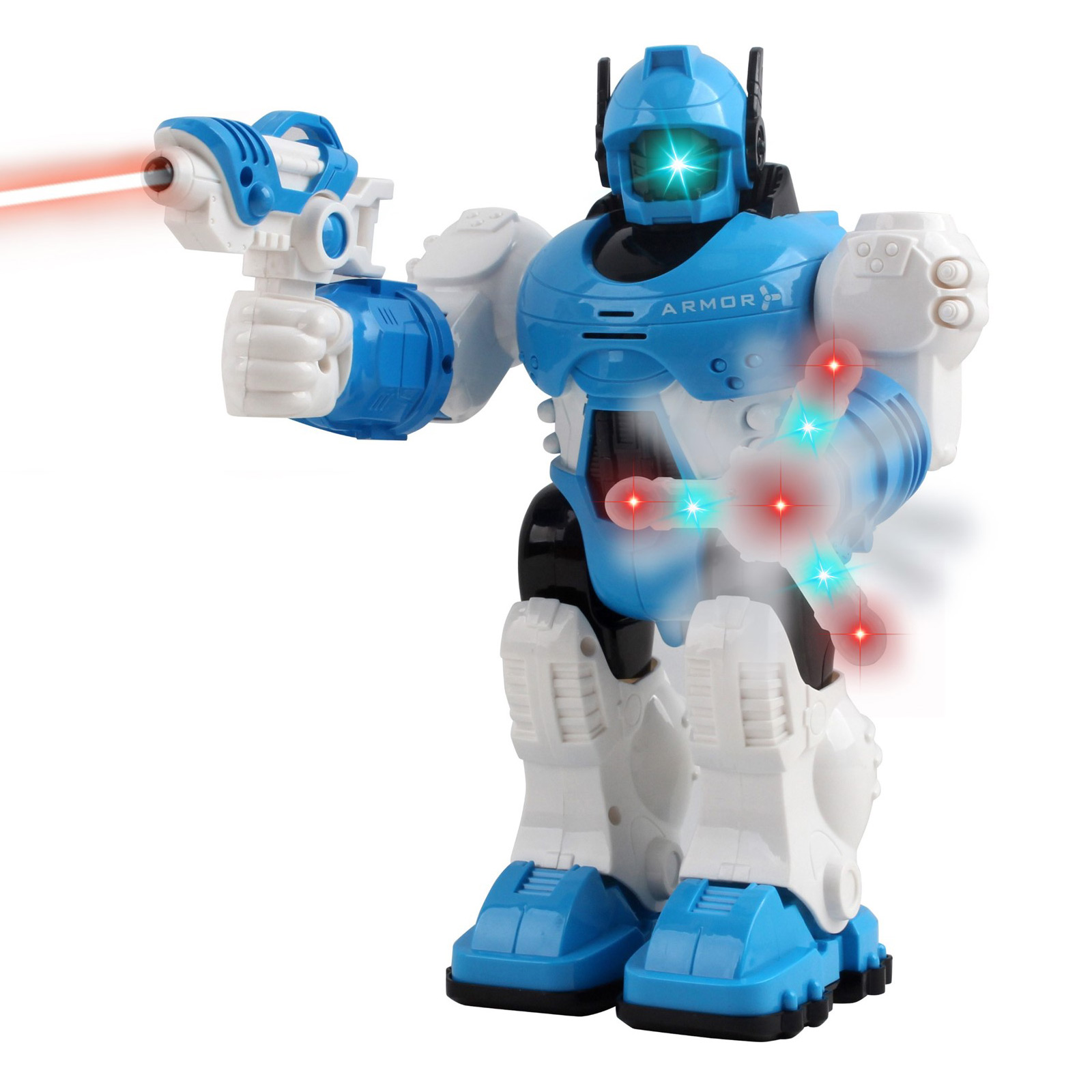 Walking Toy Robot Interactive With Spinning Hand Lights And Sounds Kids Smart Police Robocop Android Robotic Cop Perfect Action Toy For Boys Girls Toddlers Battery Operated White Bump And Go