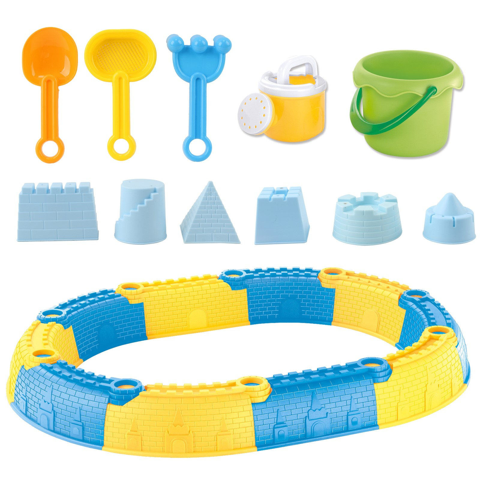 23 Piece Beach Toy Sand Castle Set Includes Molds Tools Bucket Shovel Rake Sifter And Watering Can Perfect For Outdoor Fun Kids Pretend Play Great Gift For Preschool Children Boys Girl Toddlers