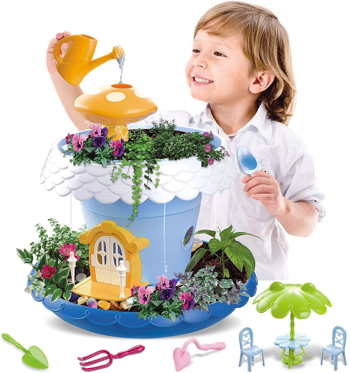Kids Magical Garden Growing Kit Includes Everything You Need Tools Seeds Soil Flower Plant Tree House Interactive Play Fairy Toys Inspires Horticulture Learning Great Gift For Children Girl Boy