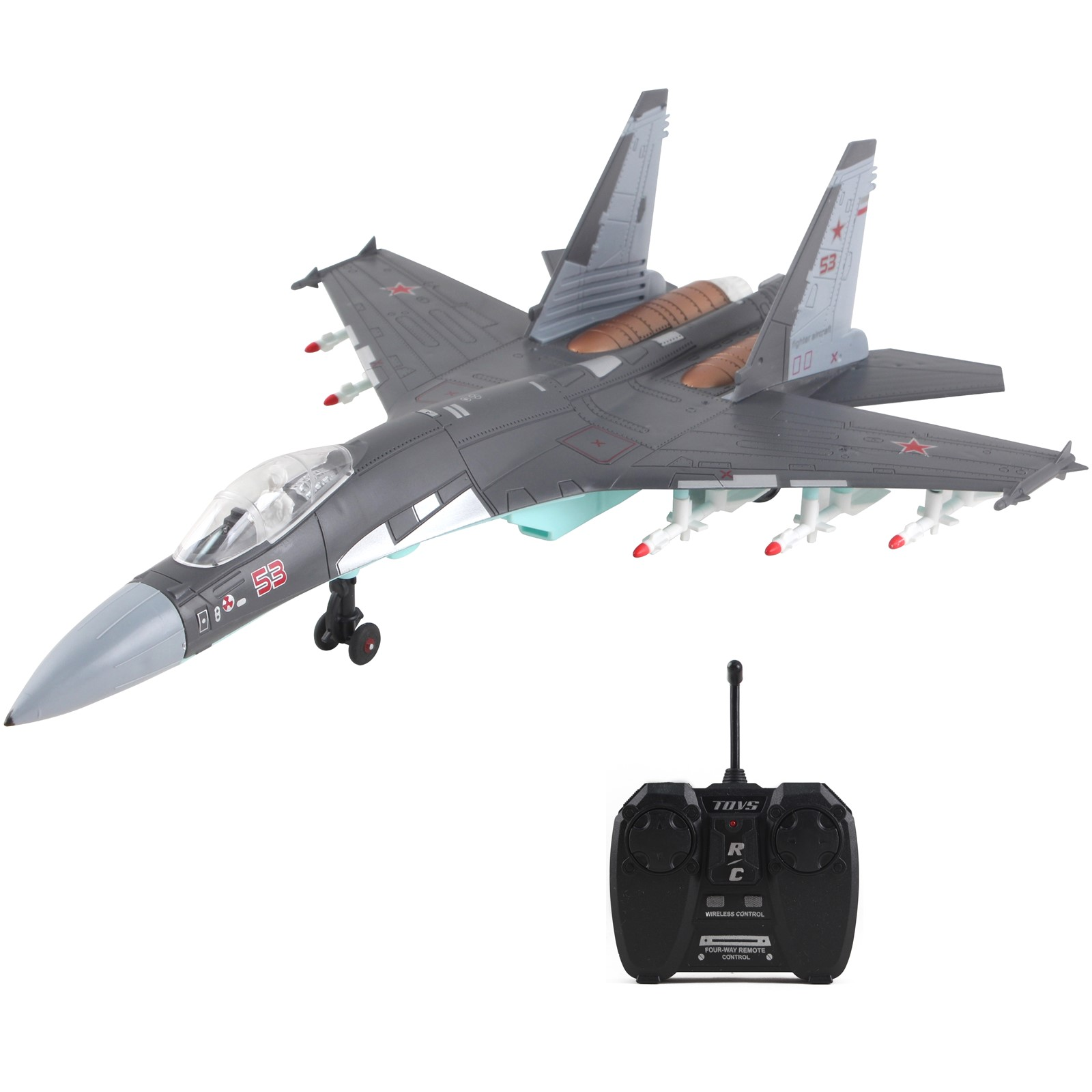 Vokodo RC Military Fighter Jet 18 Inch Stealth Bomber Non-Flying Air Force Army Toys Remote Control Airplane Realistic Pretend Play Kids Action Aircraft Plane Great Gift For Children Boys Girls (Gray)