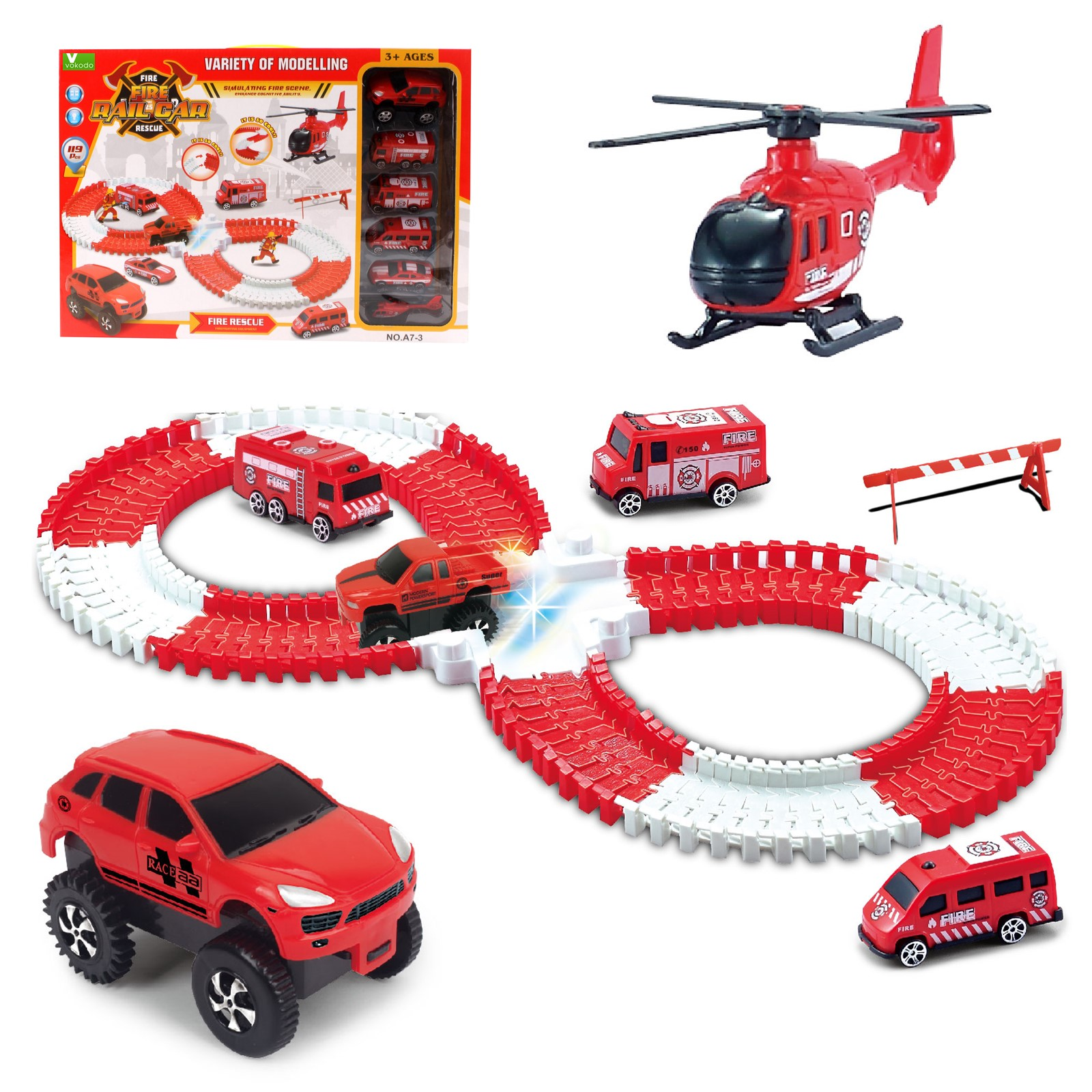 Vokodo Fire Station Track Set 119 Piece With Light Up Race Truck 4 Cars Helicopter And Firefighter Figurines Flexible Rails Kids Building Racetrack Firetruck Playset Great Gift For Children Boys Girls