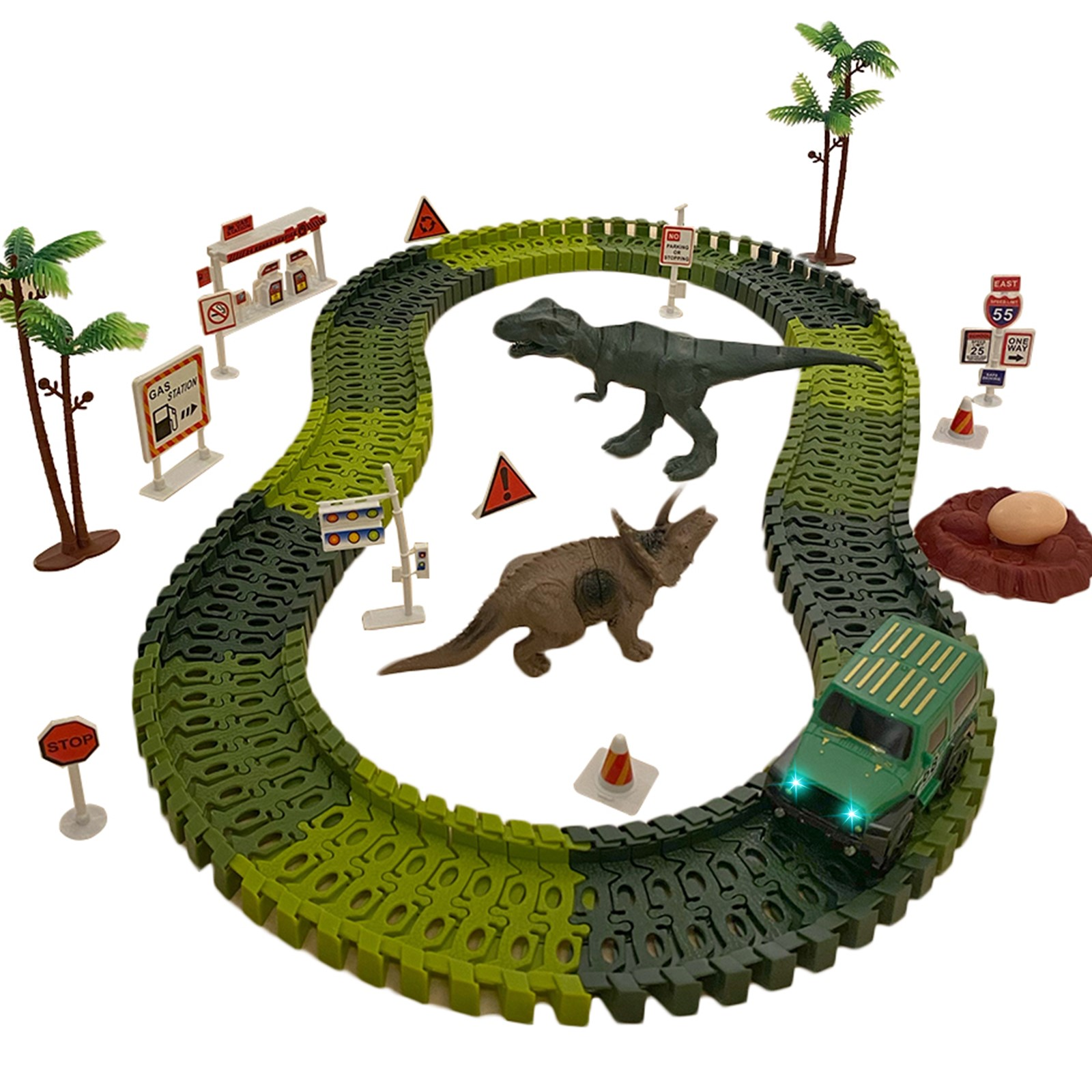 Vokodo Dinosaur Race Car Track Set 130 Piece With Motorized Light Up Truck T-Rex Triceratops And Figurines Flexible Building Tracks Kids Racetrack Vehicle Playset Great Gift For Children Boys Girls