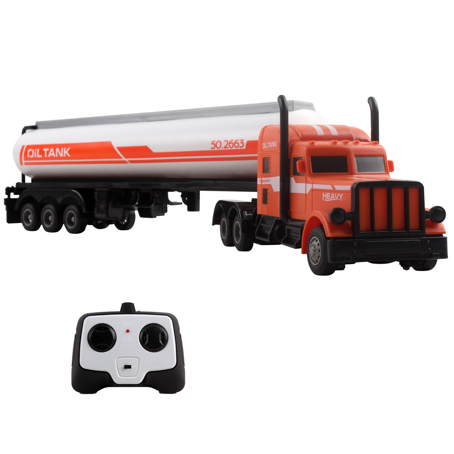 "Large RC Semi Truck Fuel Trailer 18.7"" 2.4Ghz Fast Speed 1:16 Scale Electric Oil Hauler Rechargeable Remote Control Kids Big Rig Toy Carrier Transporter Cargo Vehicle Perfect Gift For Children"