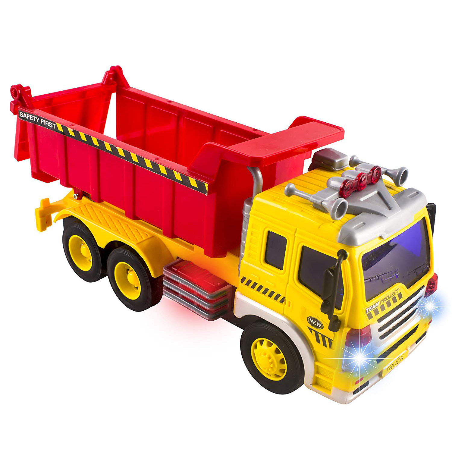 Friction Powered Construction Dump Truck With Lights Sound And Working Headlights Kids Toy Vehicle Moves Around Changes Directions On Contact Includes Batteries