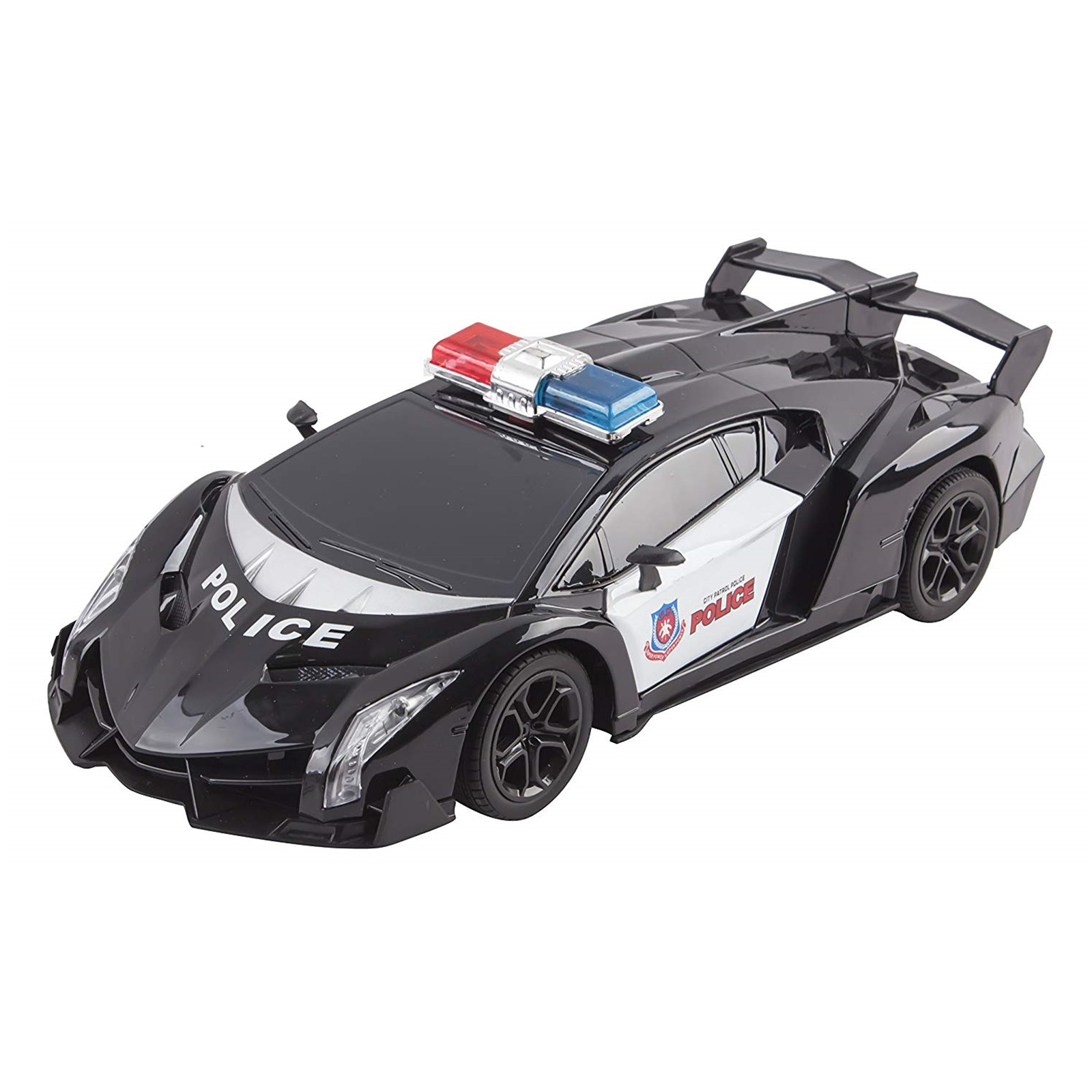 Police RC Car Super Exotic Large 116 Scale Size Kids Remote Control Easy To Operate Toy Sports Cars With Functional LED Headlights Perfect Cop Race Vehicle Full Function Black