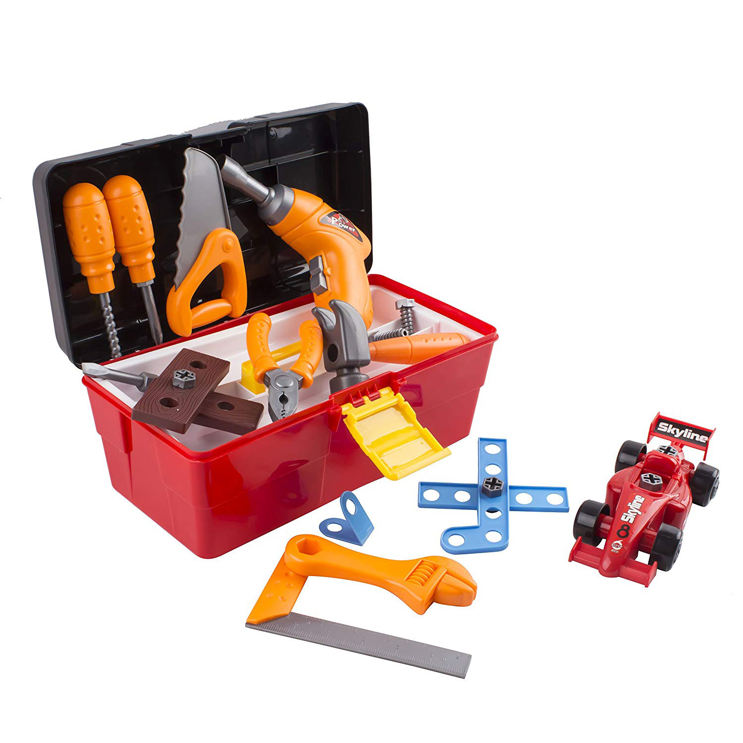 44 Piece Toy Tool Set With Construction Kit Accessories Portable Realistic Tools Box Including Electric Drill Hammer Wrench Screwdriver F1 Car Perfect For Boys Children's Educational STEM Pretend Play