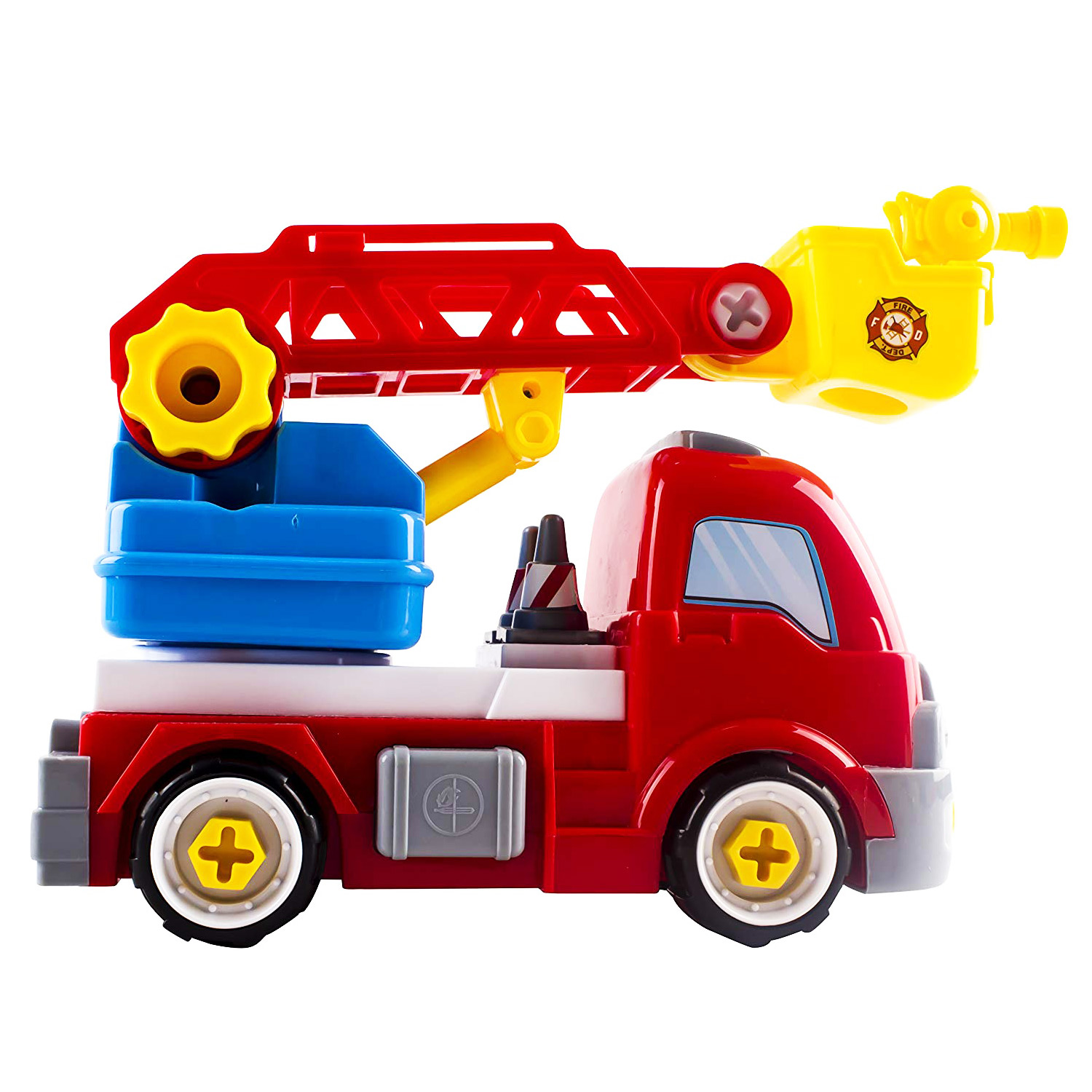 Fire Truck Toy Rescue HERO Take-A-Part DIY With Extending Ladder Educational Building Toys Vehicle Includes Screwdriver Wrench Removable Cones Perfect Take Apart Firetruck for Boys And Girls