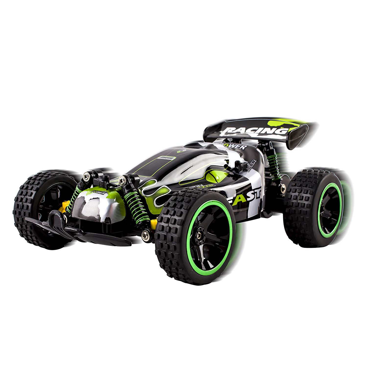 RC Buggy Truck 2.4Ghz System 1:18 Scale Remote Control High Speed Power With Working Off-Road Suspension Ready to Run Indoor And Outdoor Radio Car Toy Green