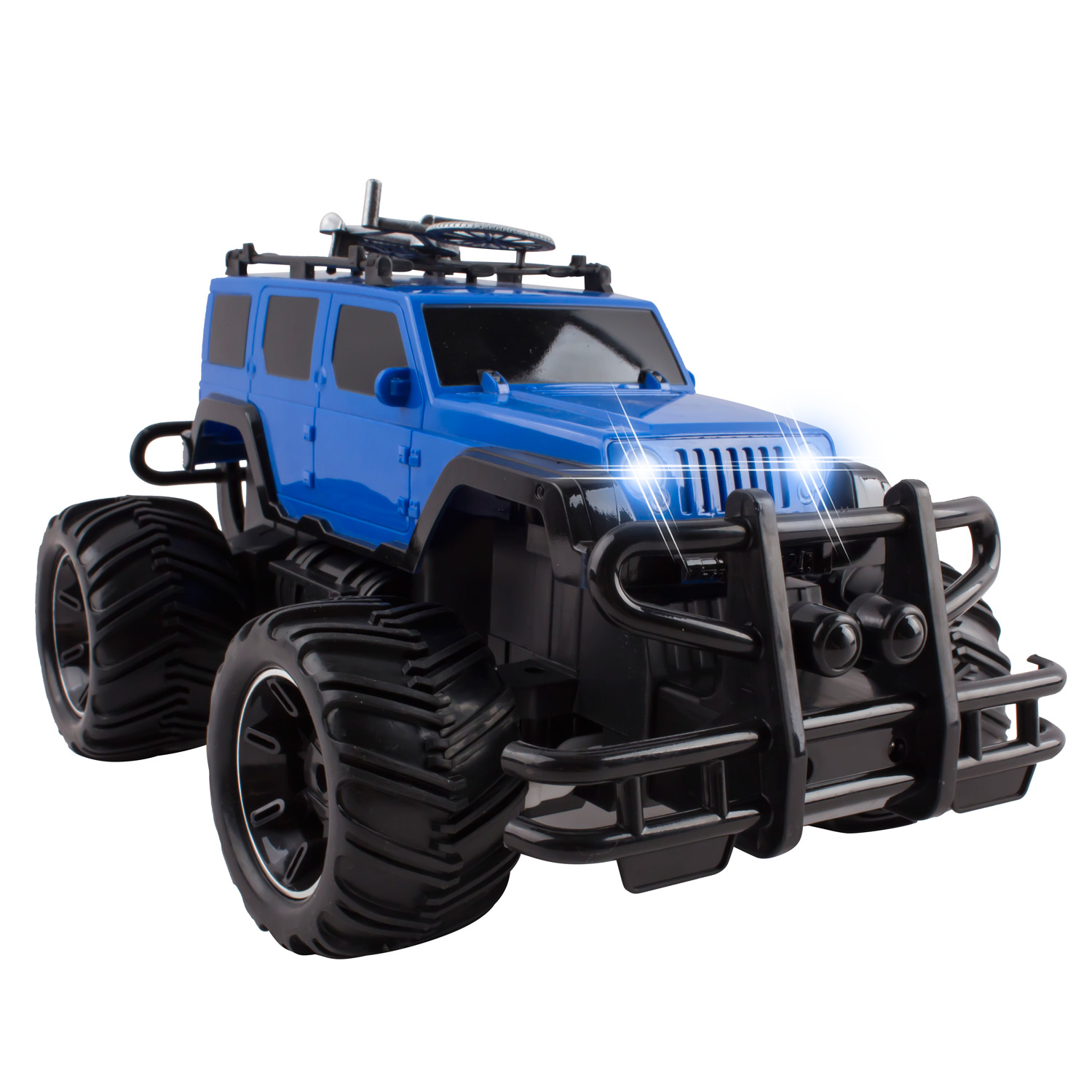 RC Truck Jeep Big Wheel Monster Remote Control Car With LED Headlights Ready to Run Includes Rechargeable Battery 1:16 Size Off-Road Beast Buggy Toy Blue