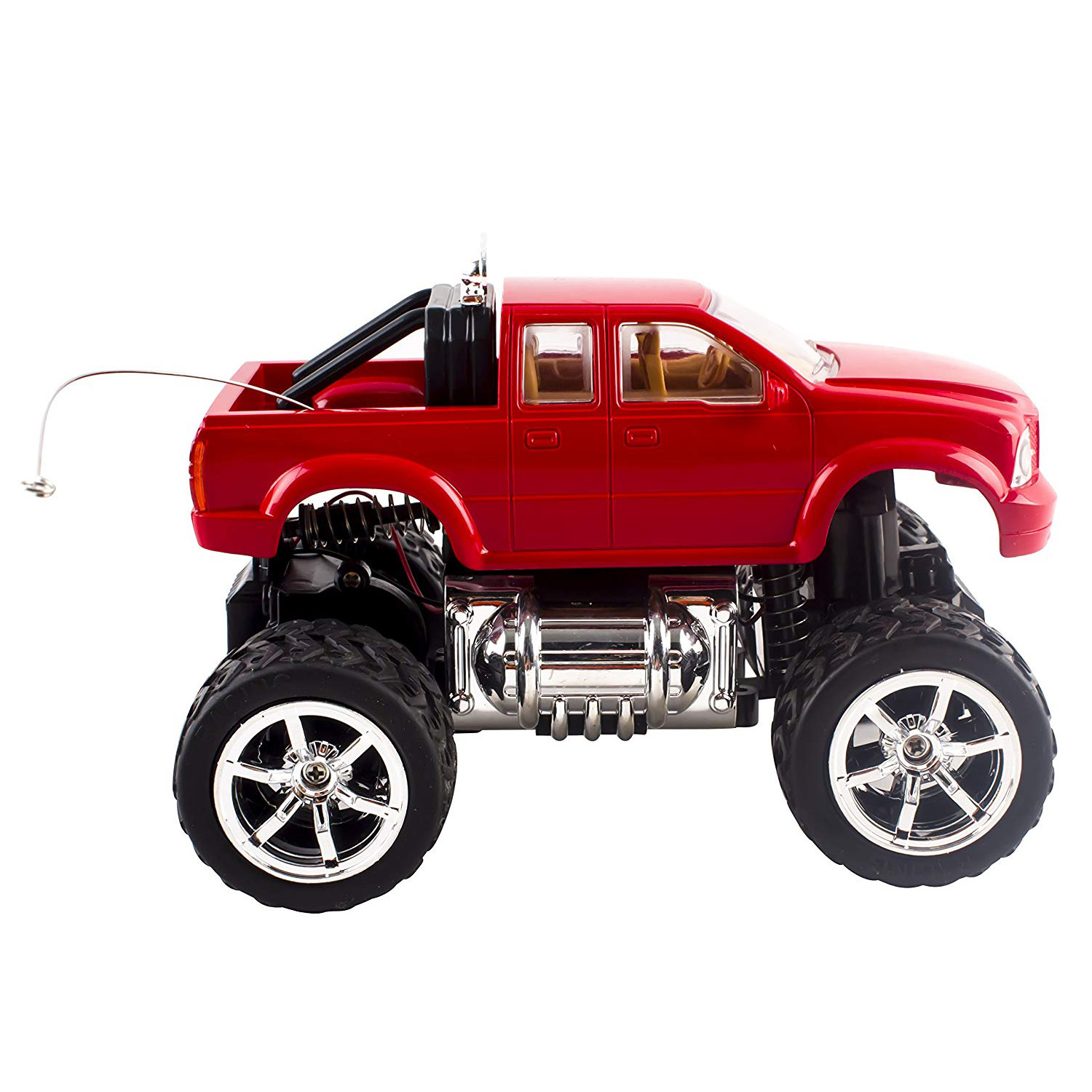 RC Truck Off-Road Series 120 Mini Scale Big Wheel Remote Control Car With LED Headlights Ready to Run Fast Nimble Handling Monster Trucks Beast Buggy Toy Red