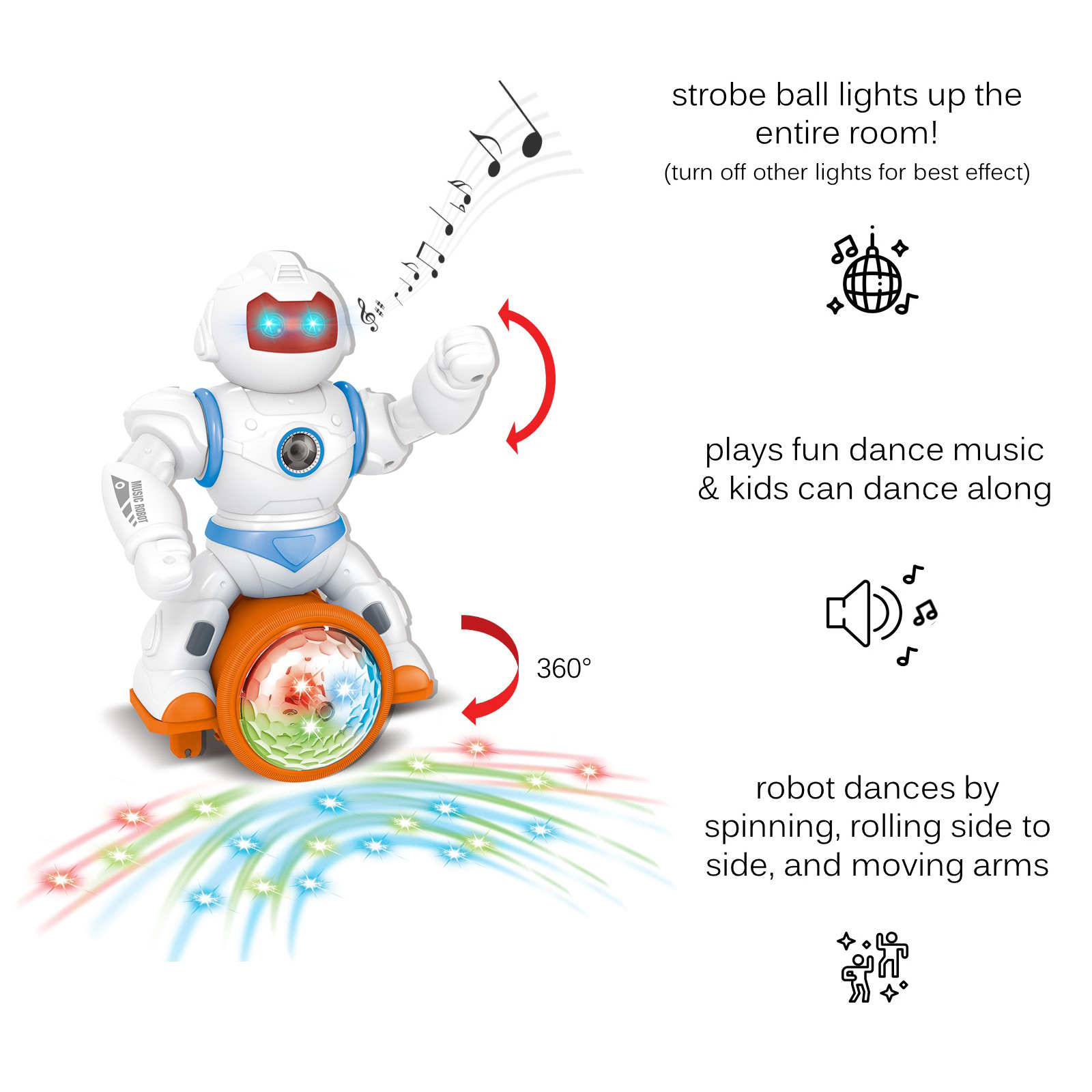 Large Musical Bump And Go Dancing Robot With Disco Ball Flashing Lights Sounds Happy Tunes Kids Music Box Nonstop Self Riding Action Great Toy Gift For Toddlers Young Children Boys Girls