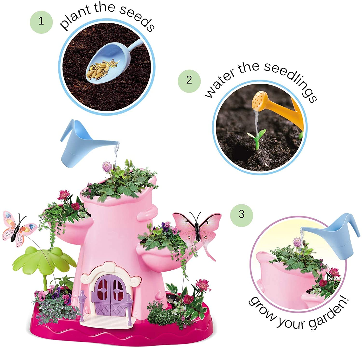 Kids Magical Garden Growing Kit Includes Tools Seeds Soil Flower Plant Tree Interactive Play Fairy Toys Inspires Horticulture Learning Great Gift for Children Girls Pink