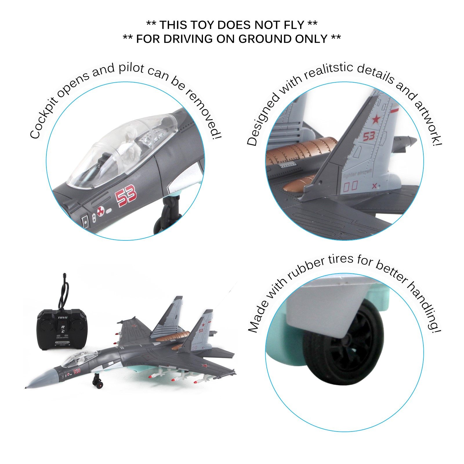Vokodo RC Military Fighter Jet 18 Inch Stealth Bomber Non-Flying Air Force Army Toys Remote Control Airplane Realistic Pretend Play Kids Action Aircraft Plane Great Gift For Children Boys Girls Gray