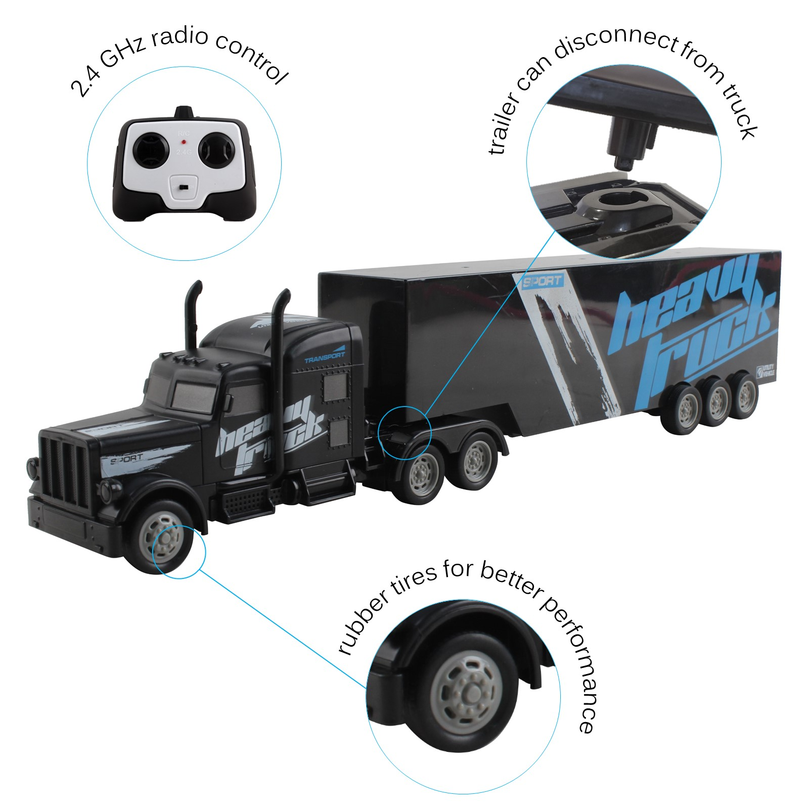 Vokodo RC Semi Truck And Trailer 18 Inch 24Ghz Fast Speed 116 Scale Electric Hauler Rechargeable Battery Included Remote Control Car Kids Big Rig Toy Vehicle Great Gift For Children Boy Girl Black