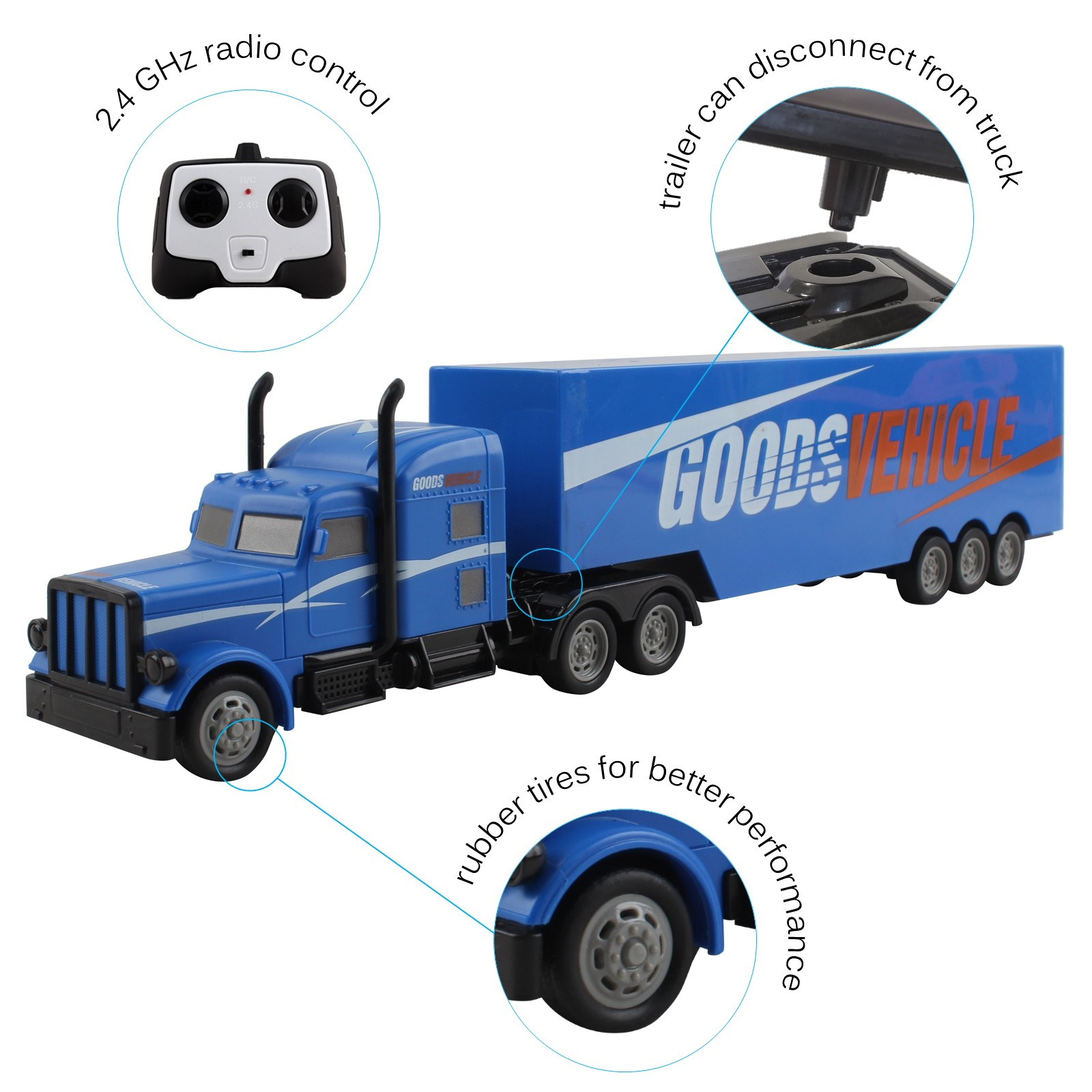 Vokodo RC Semi Truck And Trailer 18 Inch 24Ghz Fast Speed 116 Scale Electric Hauler Rechargeable Battery Included Remote Control Car Kids Big Rig Toy Vehicle Great Gift For Children Boys Girl Blue