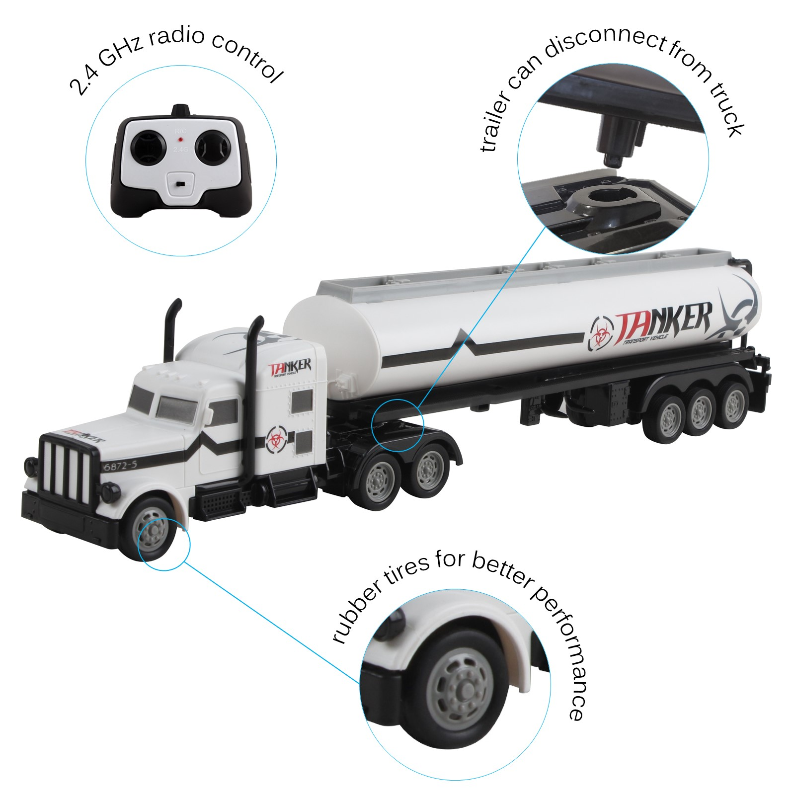 Vokodo RC Semi Truck And Trailer 18 Inch 24Ghz Fast Speed 116 Scale Electric Fuel Oil Hauler Rechargeable Battery Included Remote Control Kids Big Rig Toy Tanker Car Great Gift For Children Boy Girl