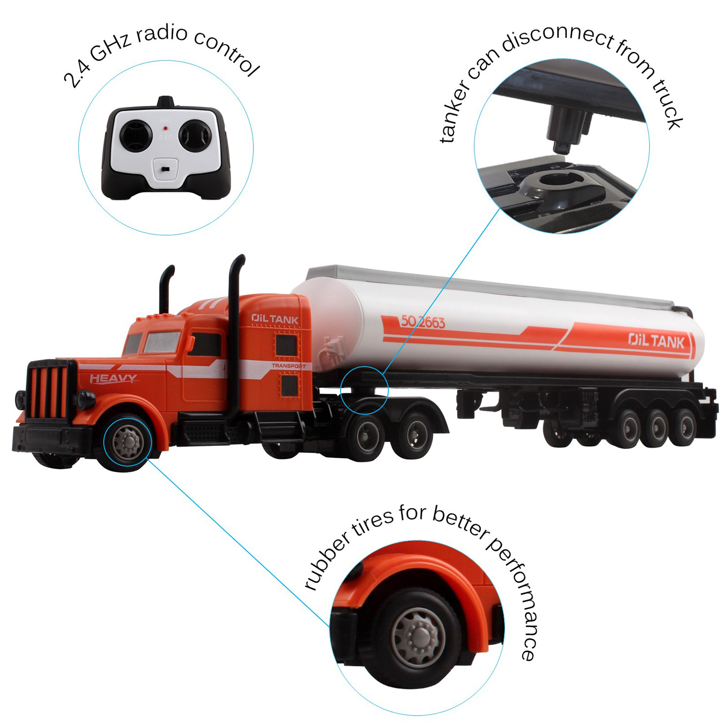 Large RC Toy Semi Truck Fuel Trailer 24Ghz Fast Speed 120 Scale Electric Oil Hauler Rechargeable Remote Control Kids Big Rig Carrier Transporter Vehicle Full Cargo Perfect Childrens Toy Gift