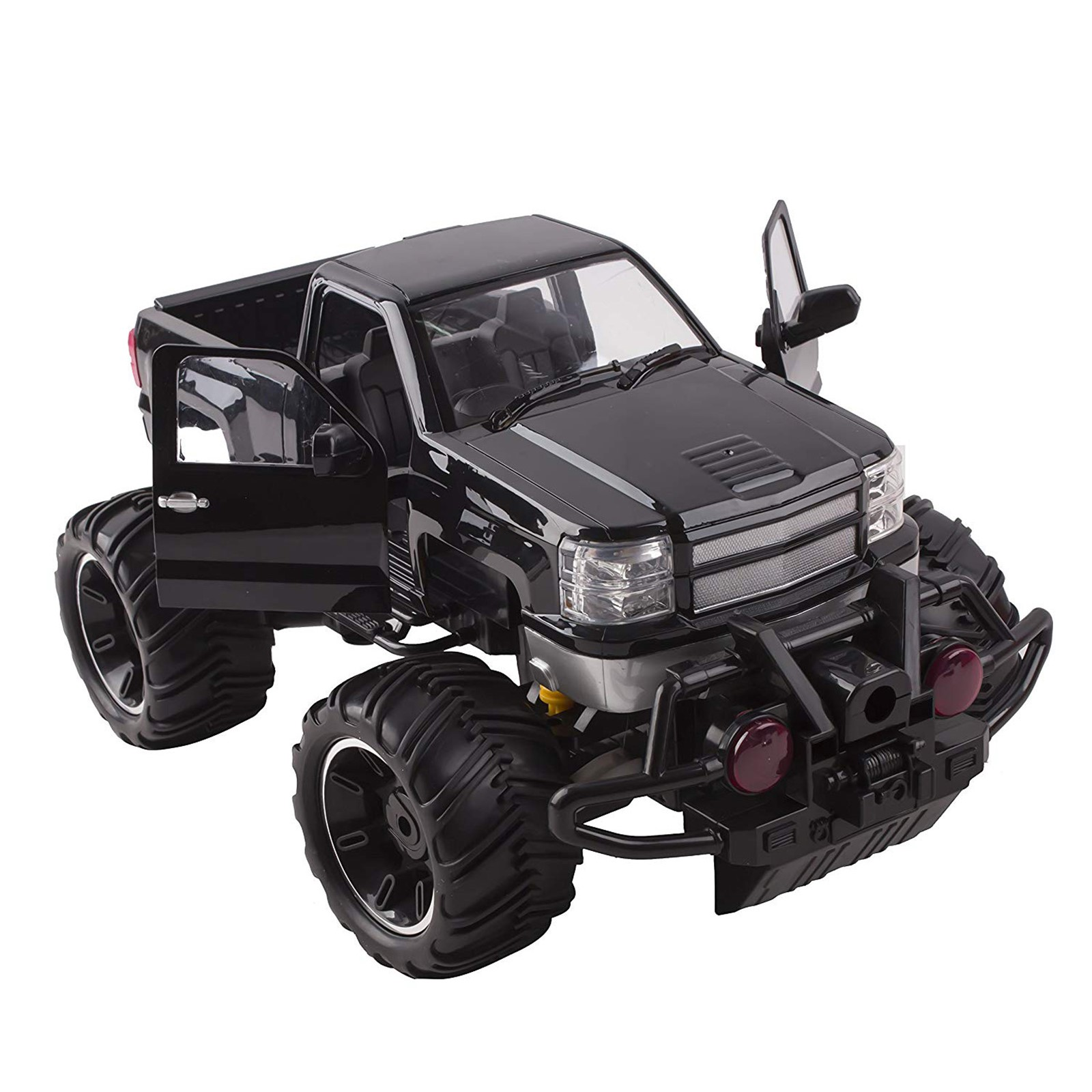 Big Wheel Beast RC Monster Truck Remote Control Doors Opening Car Light Up LED Headlights Ready to Run INCLUDES RECHARGEABLE BATTERY 1:14 Size Off-Road Pick Up Buggy Toy (Black)